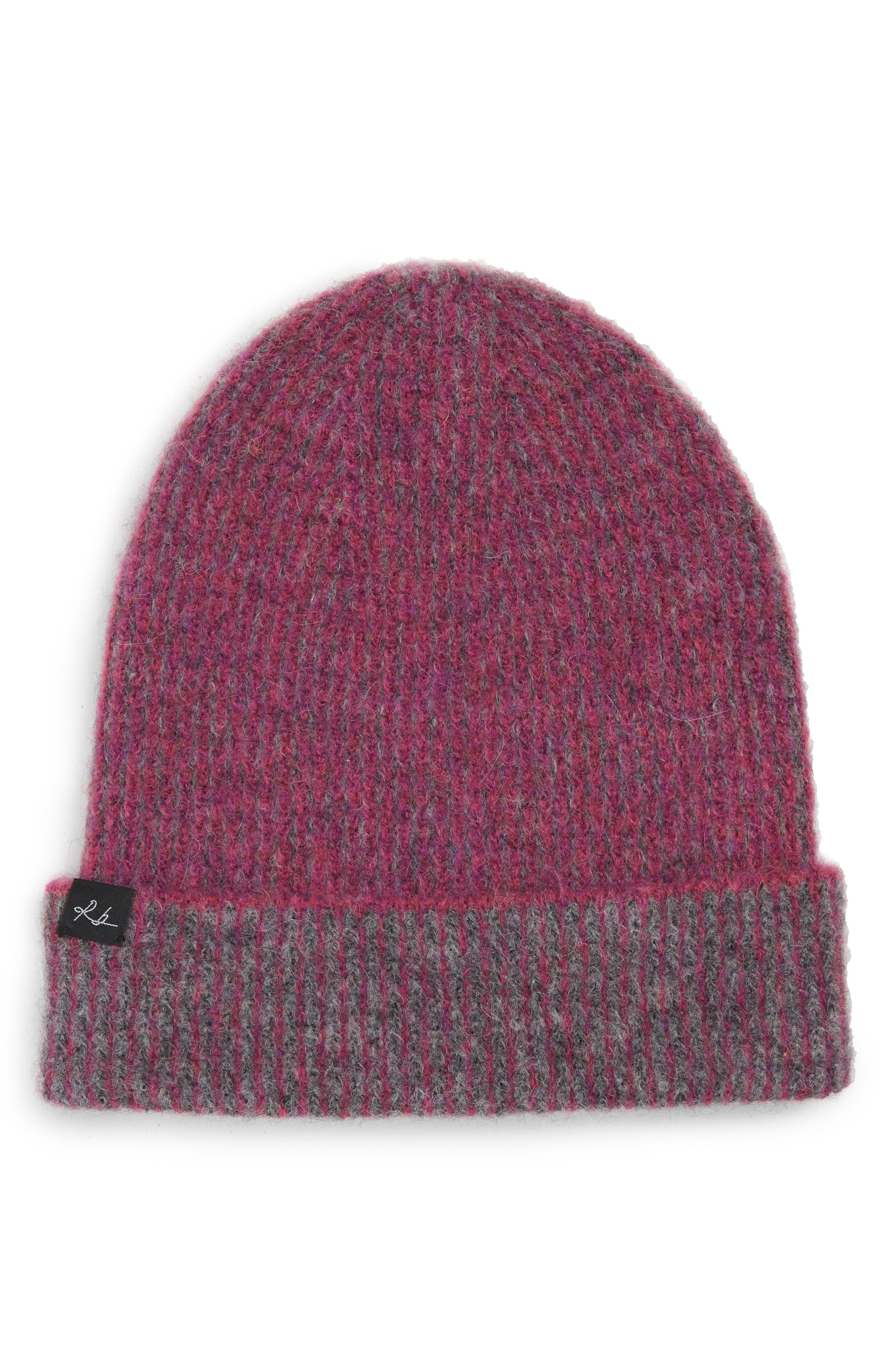 Jonie Two-Tone Alpaca-Blend Beanie Hat in Magenta