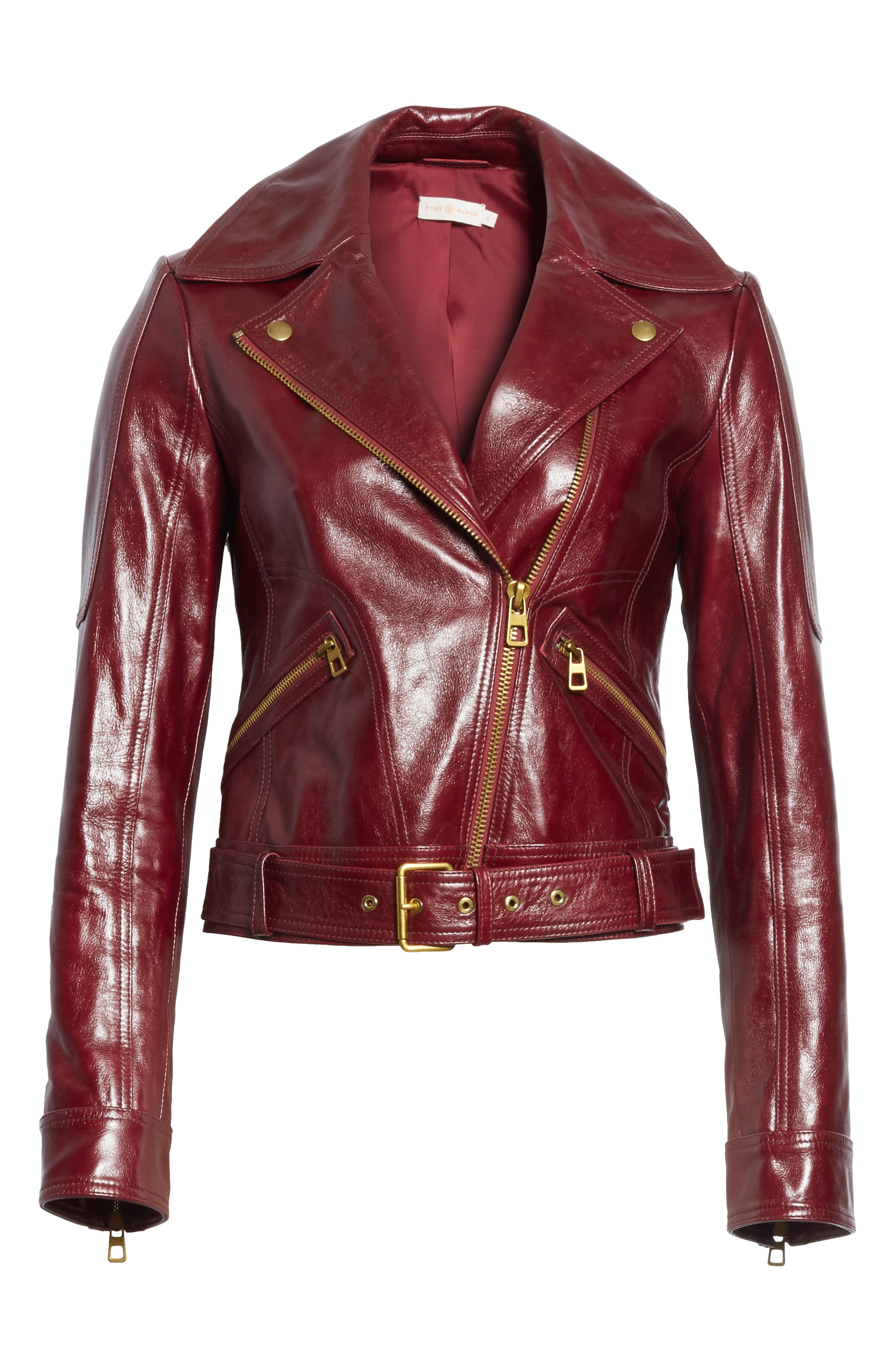 Bianca Leather Moto Jacket,                             Alternate thumbnail 5, color,