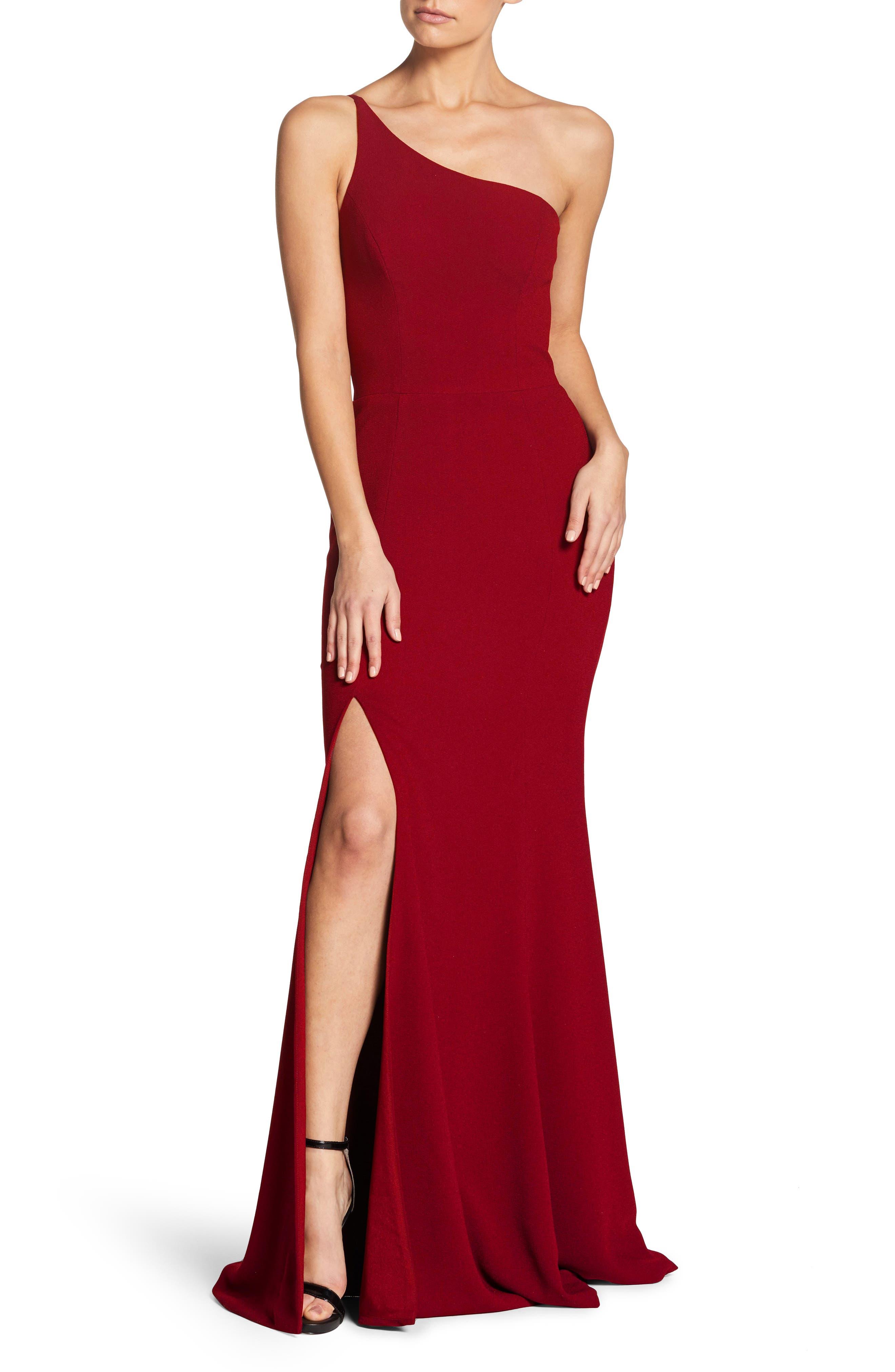 Amy One-Shoulder Crepe Gown,                         Main,                         color, GARNET
