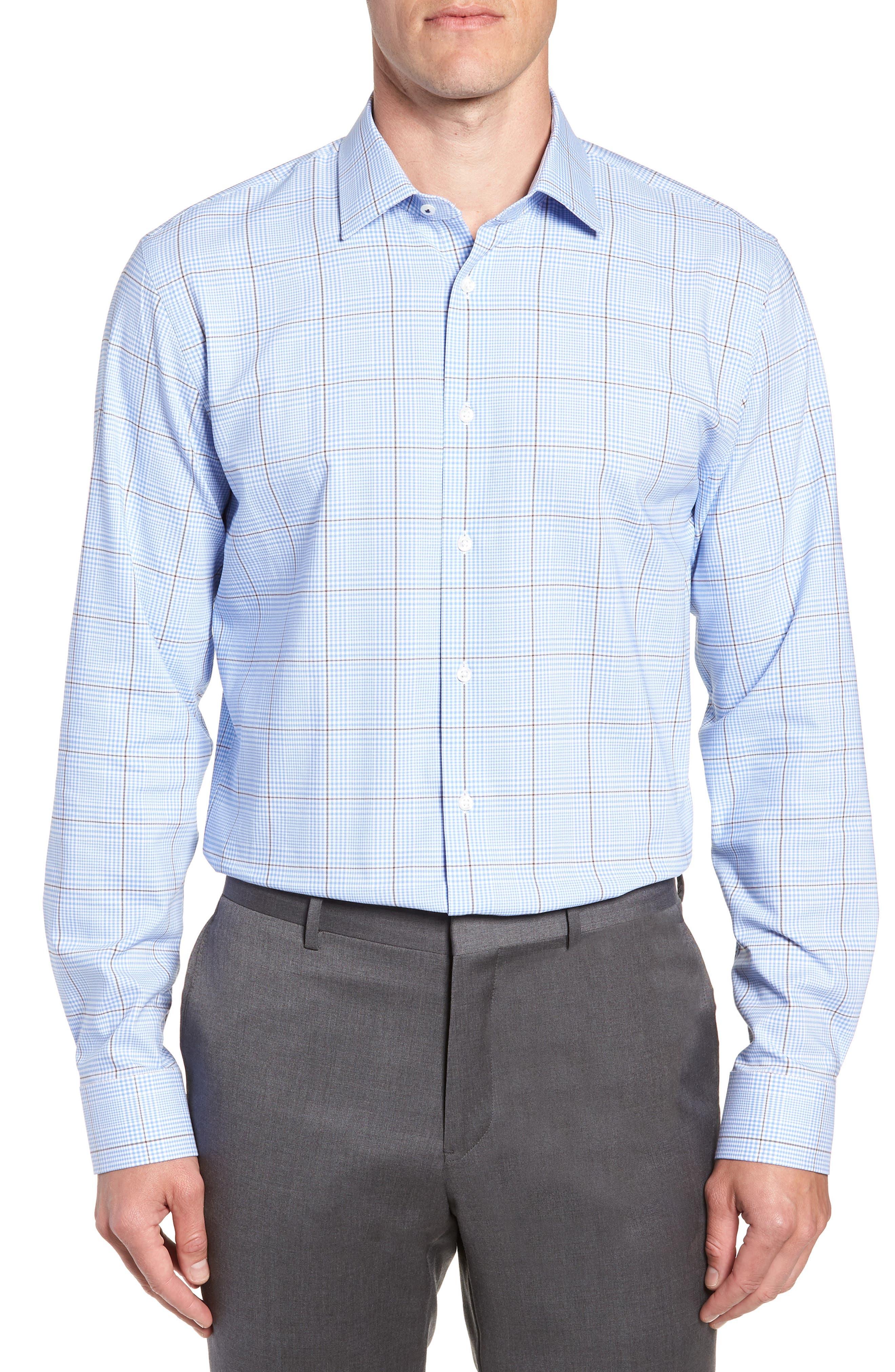 Tech-Smart Trim Fit Stretch Plaid Dress Shirt,                         Main,                         color, BLUE HAZE