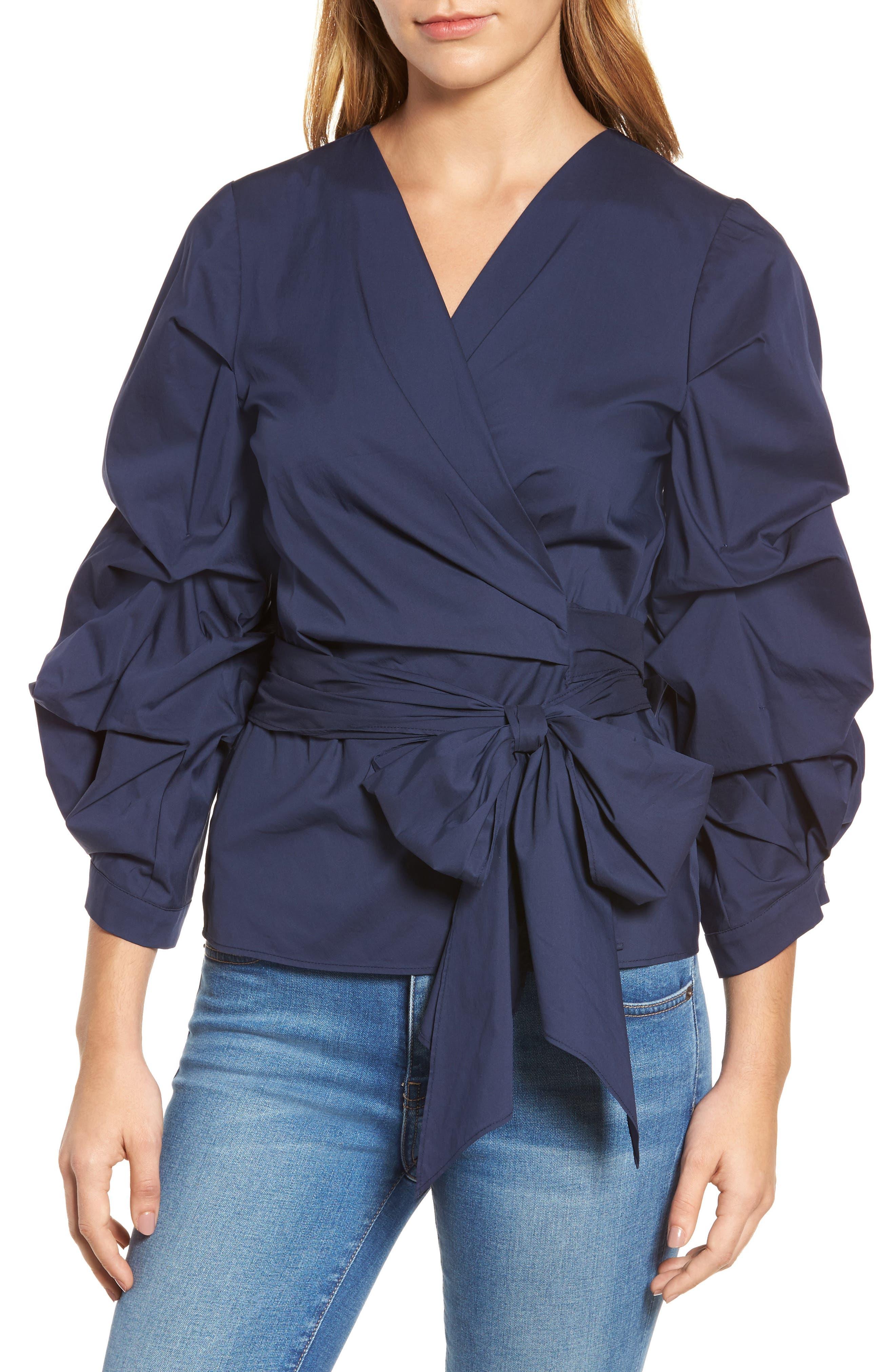 Pintuck Blouson Sleeve Wrap Top,                             Main thumbnail 1, color,                             410