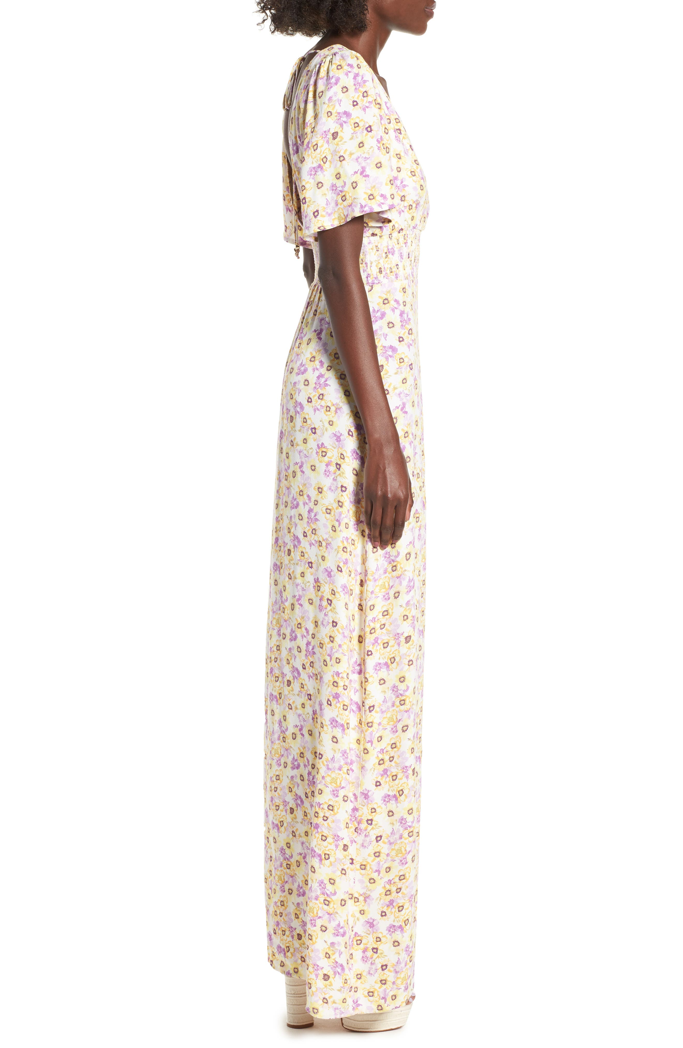 Tuscany Maxi Dress,                             Alternate thumbnail 3, color,                             YELLOW GARDEN