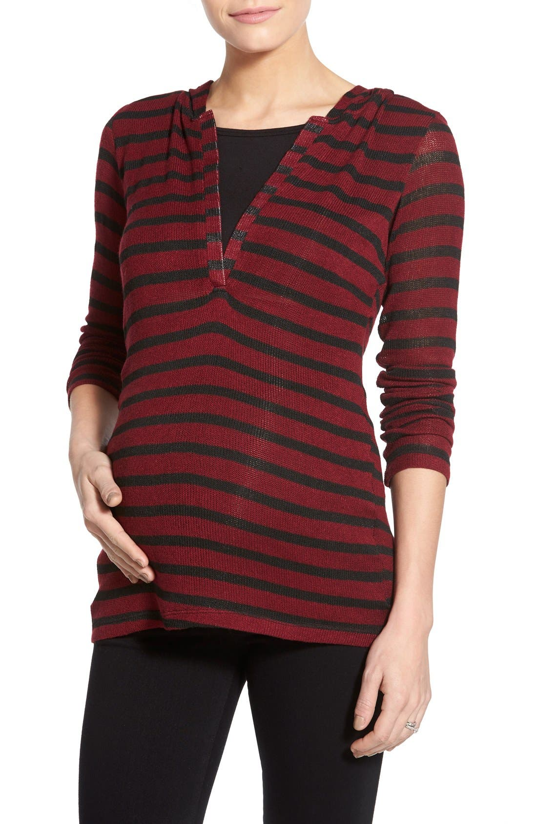 'Zoe' Stripe Maternity/Nursing Hoodie,                             Main thumbnail 1, color,                             RED/ BLACK STRIPE