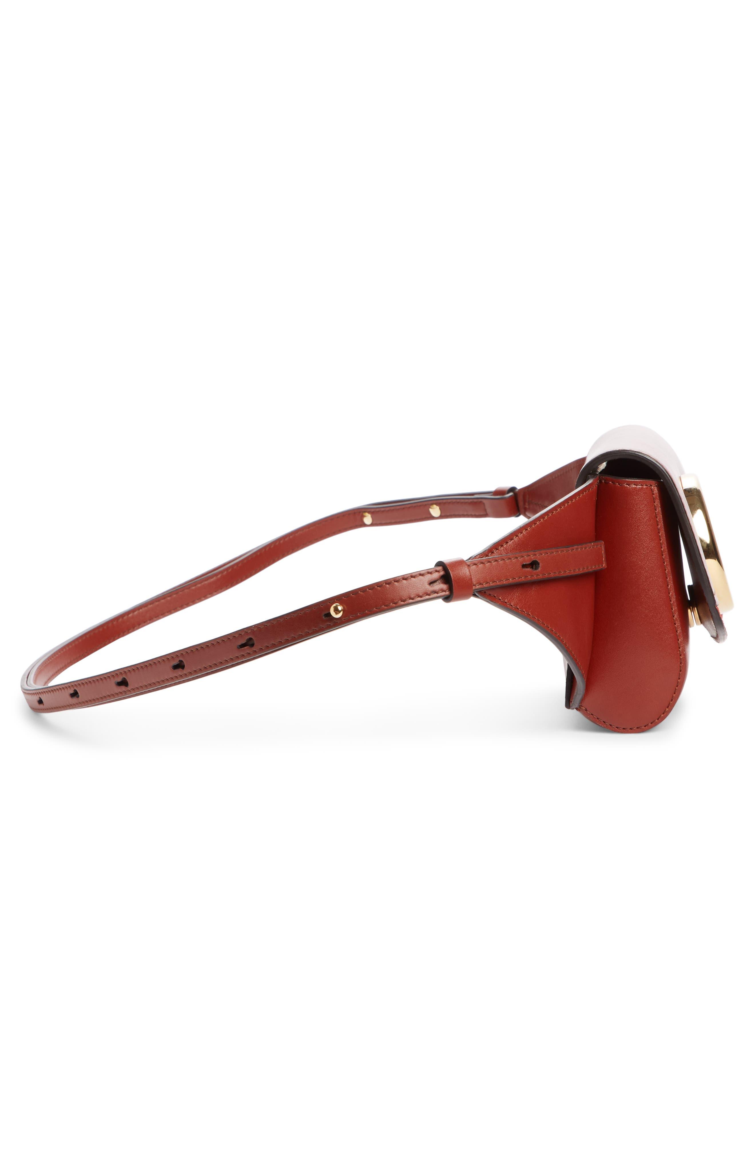 CHLOÉ,                             C Leather Convertible Belt Bag,                             Alternate thumbnail 4, color,                             SEPIA BROWN