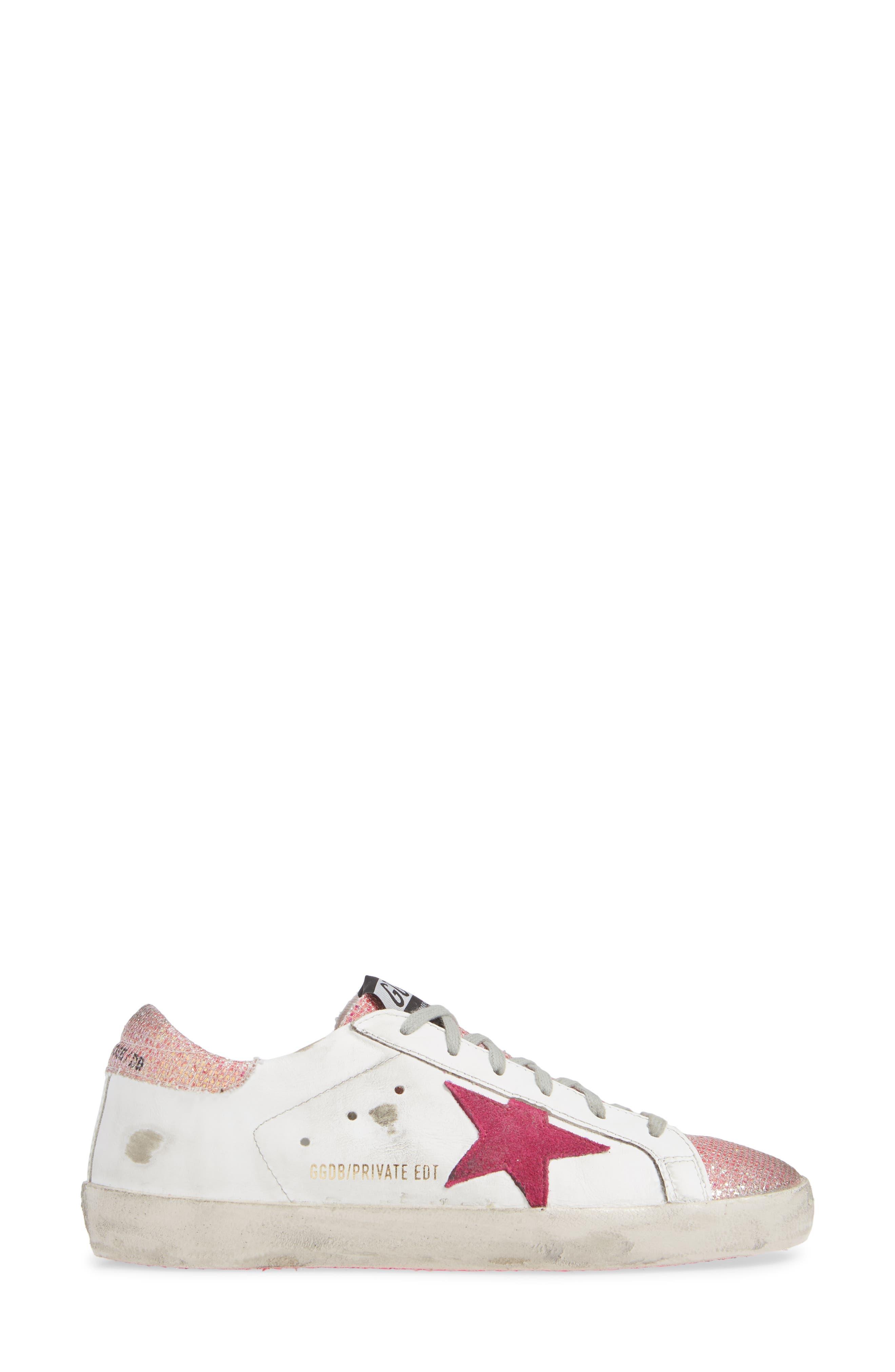 Superstar Sneaker,                             Alternate thumbnail 3, color,                             WHITE/ PINK