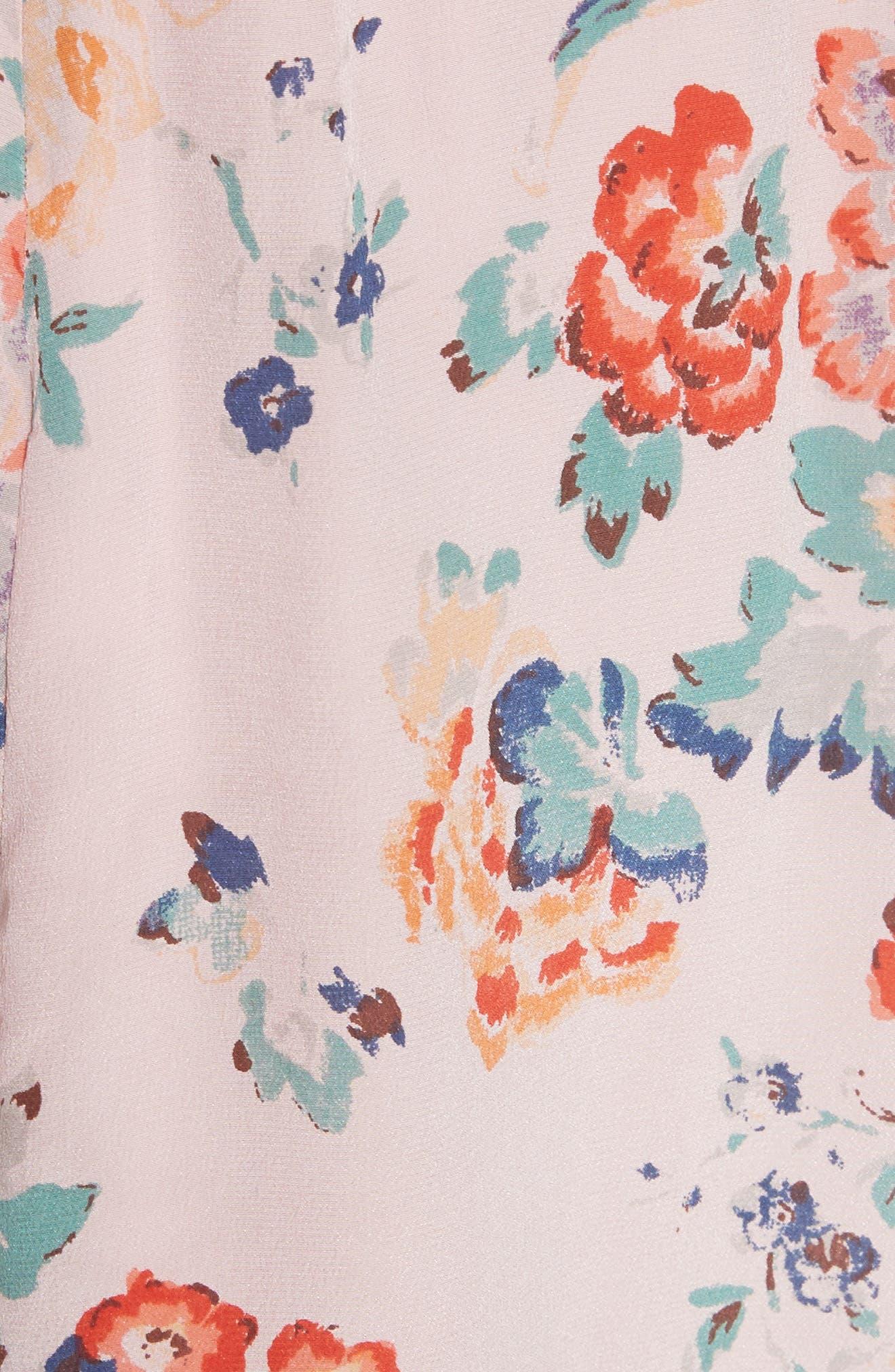 Marlena Ruffle Silk Dress,                             Alternate thumbnail 5, color,                             657