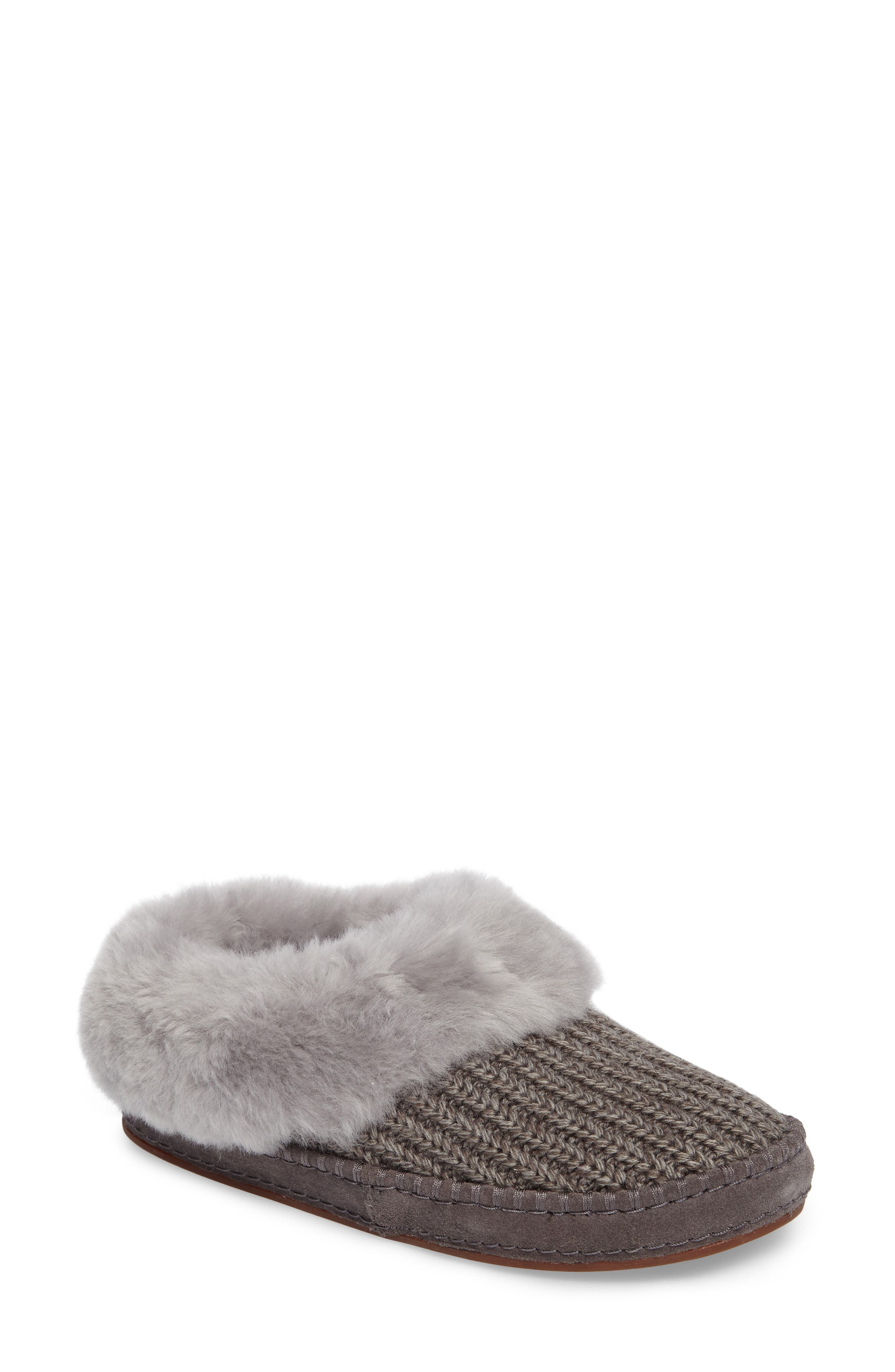 Wrin Rib-Knit & Genuine Shearling Slipper,                             Main thumbnail 1, color,                             020