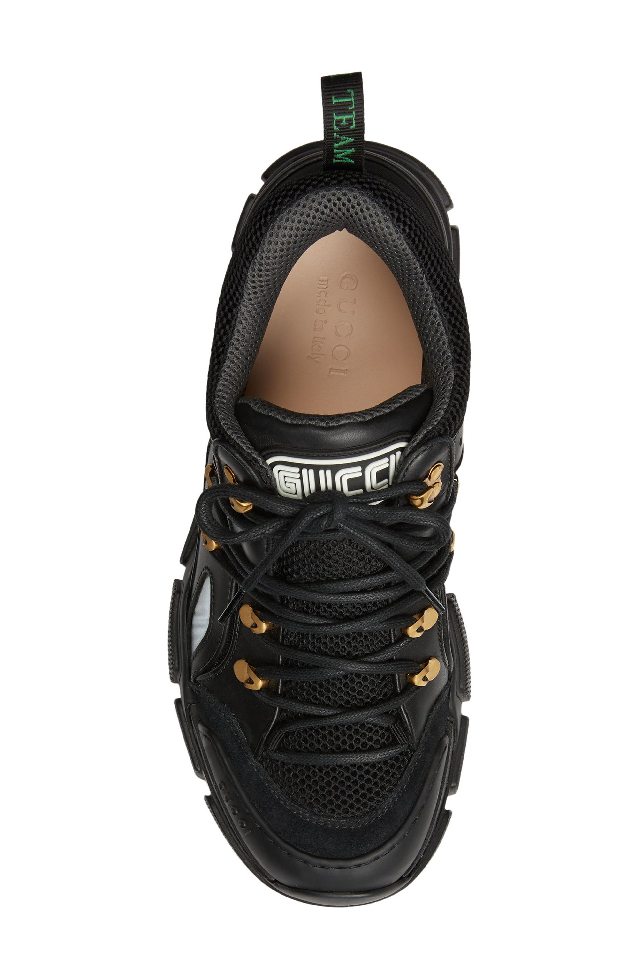 Leather and Canvas Sneaker,                             Alternate thumbnail 4, color,                             NERO/ NERO