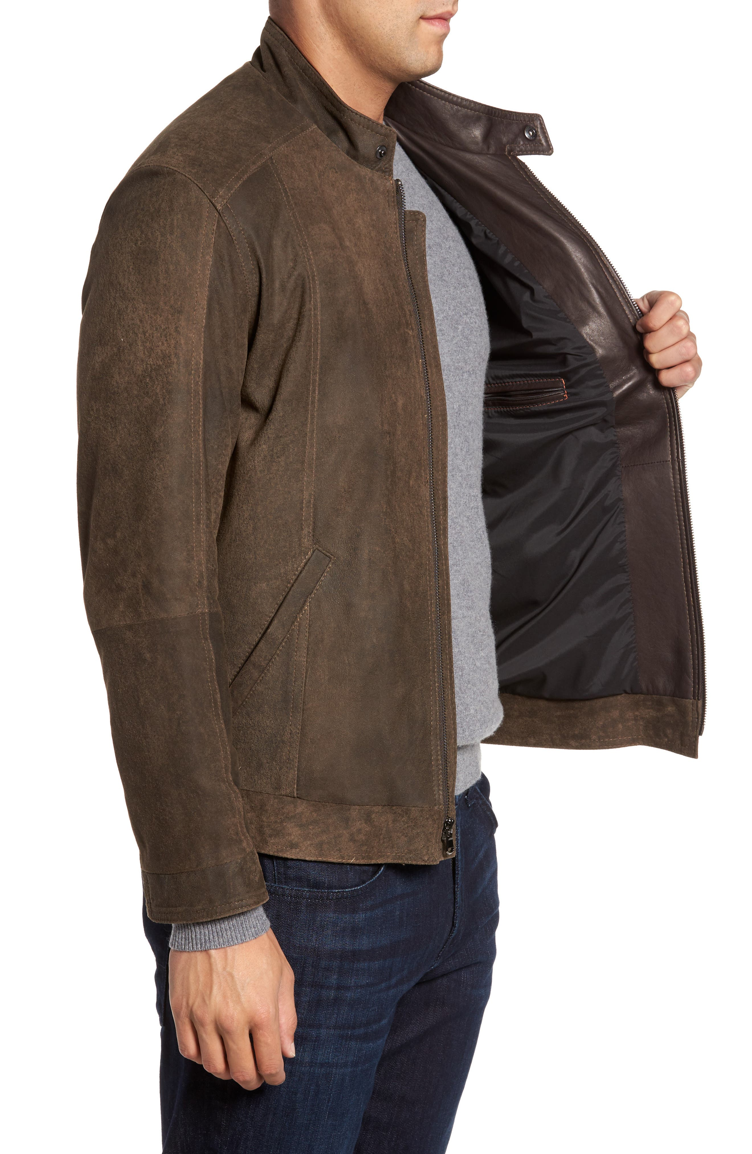 Suede Moto Jacket,                             Alternate thumbnail 3, color,                             FRONTIER/ COCOA