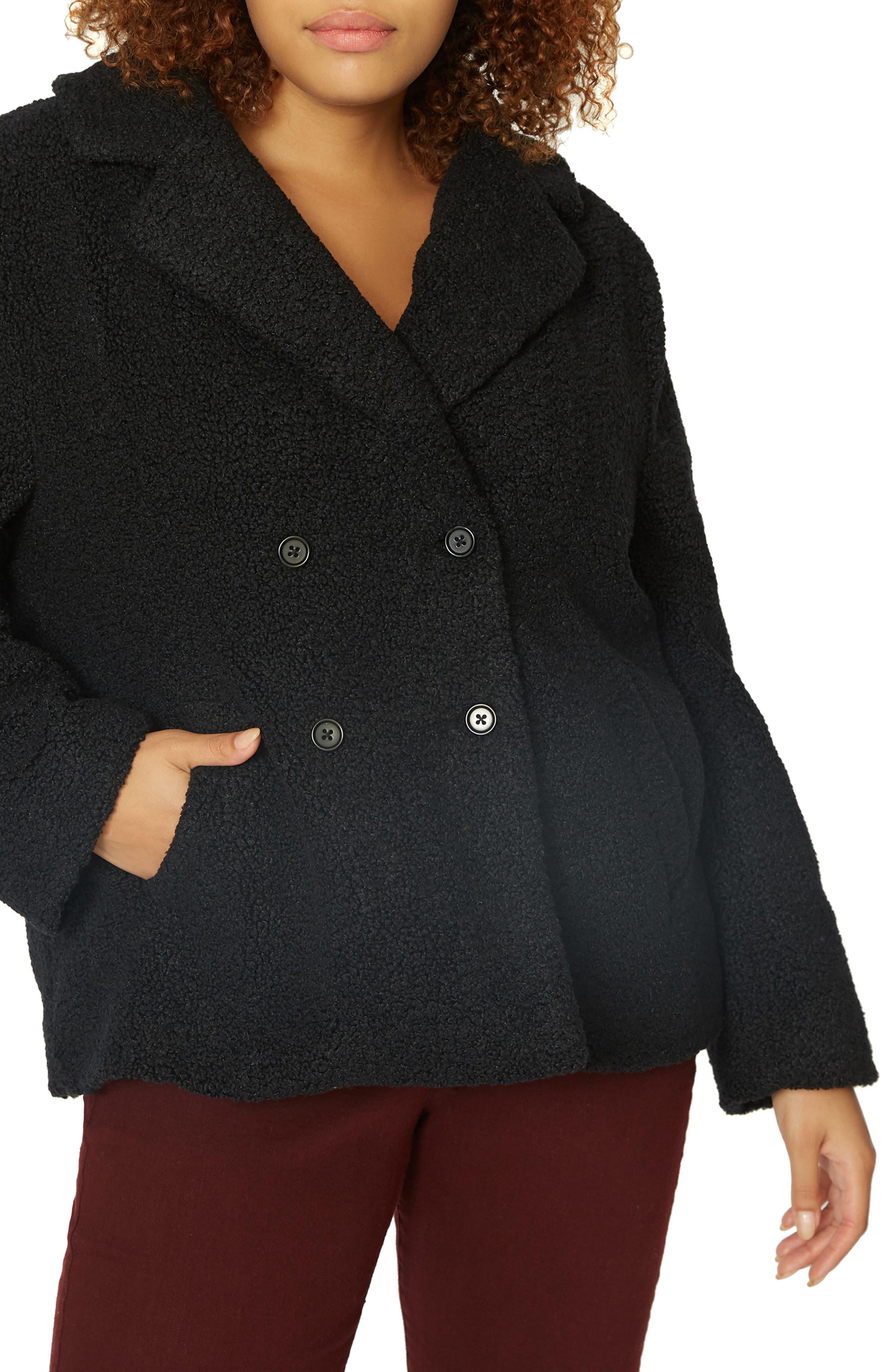 Free Spirit Faux Shearling Coat,                             Main thumbnail 1, color,                             BLACK