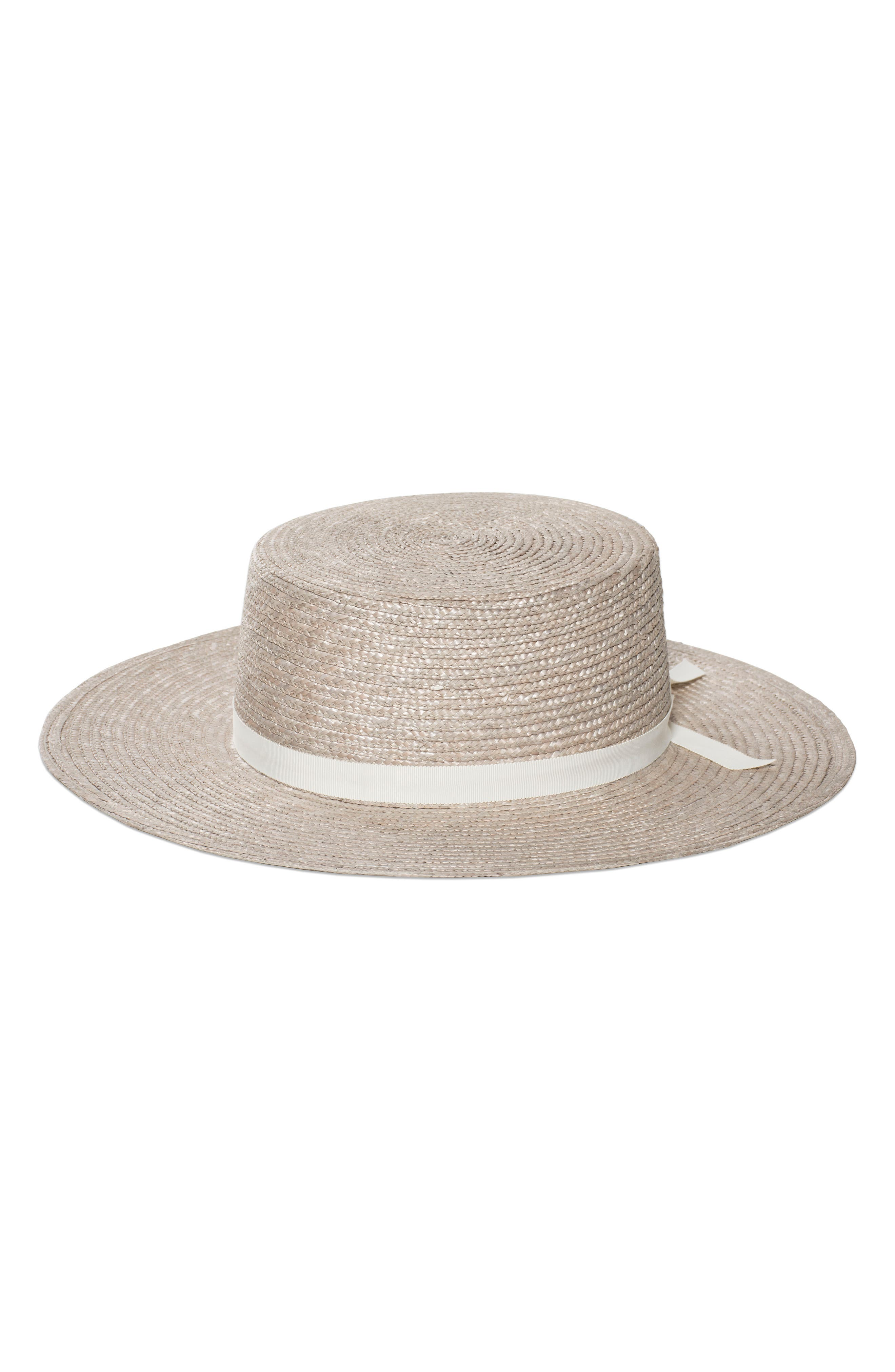 The Highland Straw Boater Hat,                             Main thumbnail 1, color,                             SILVER