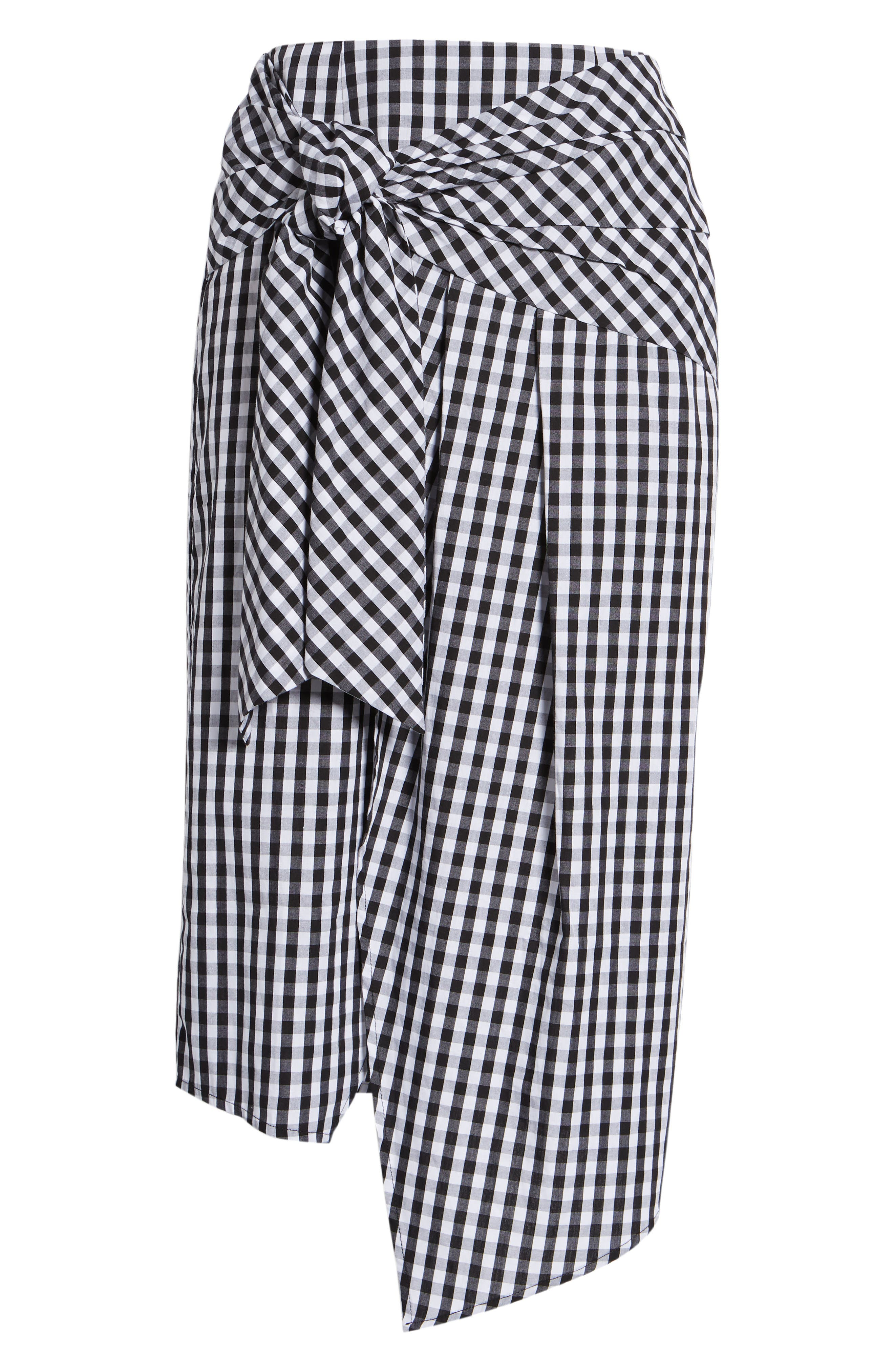 Gingham Tie Waist Skirt,                             Alternate thumbnail 6, color,                             001
