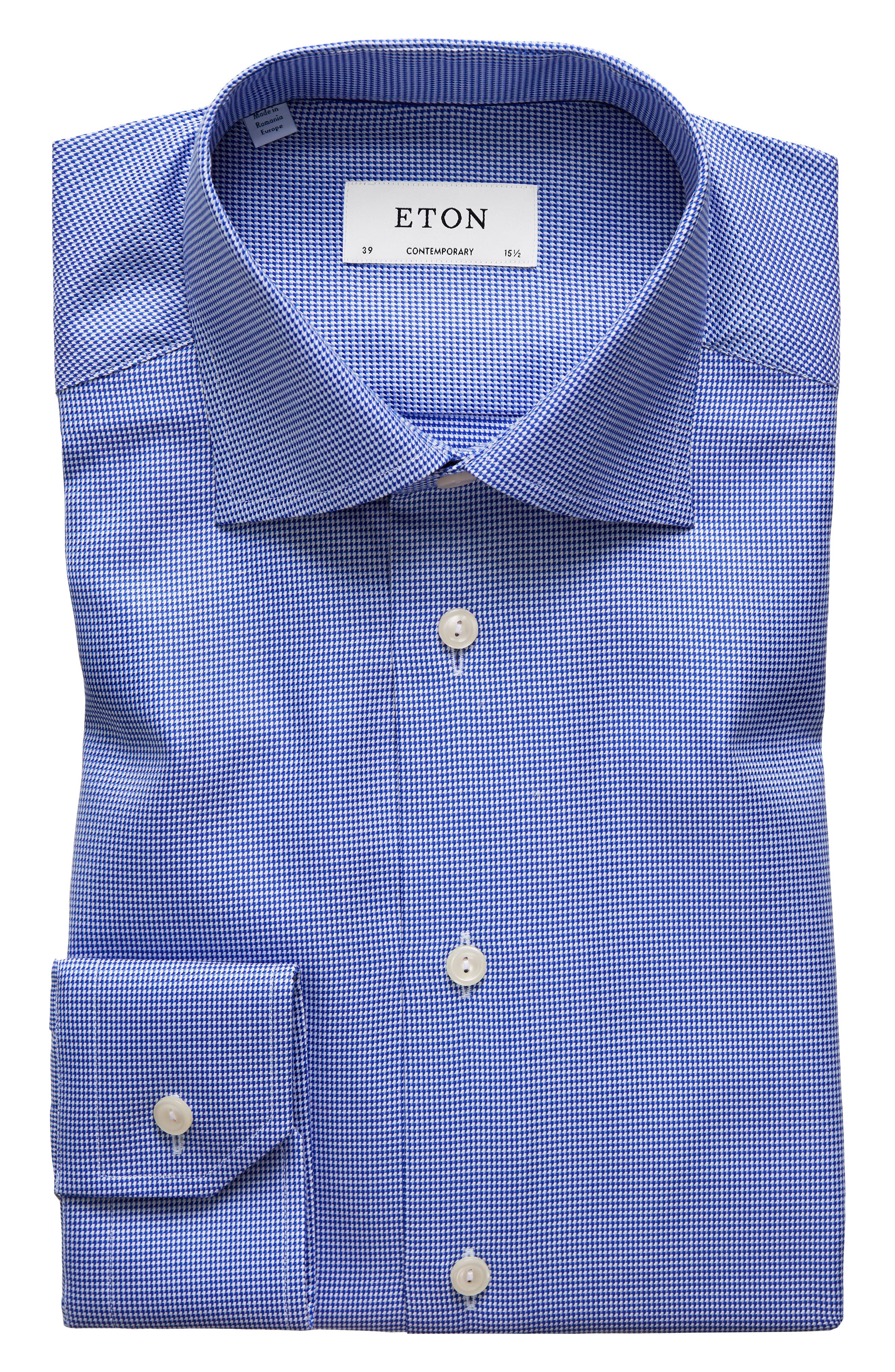 Contemporary Fit Houndstooth Dress Shirt,                             Main thumbnail 1, color,                             BLUE