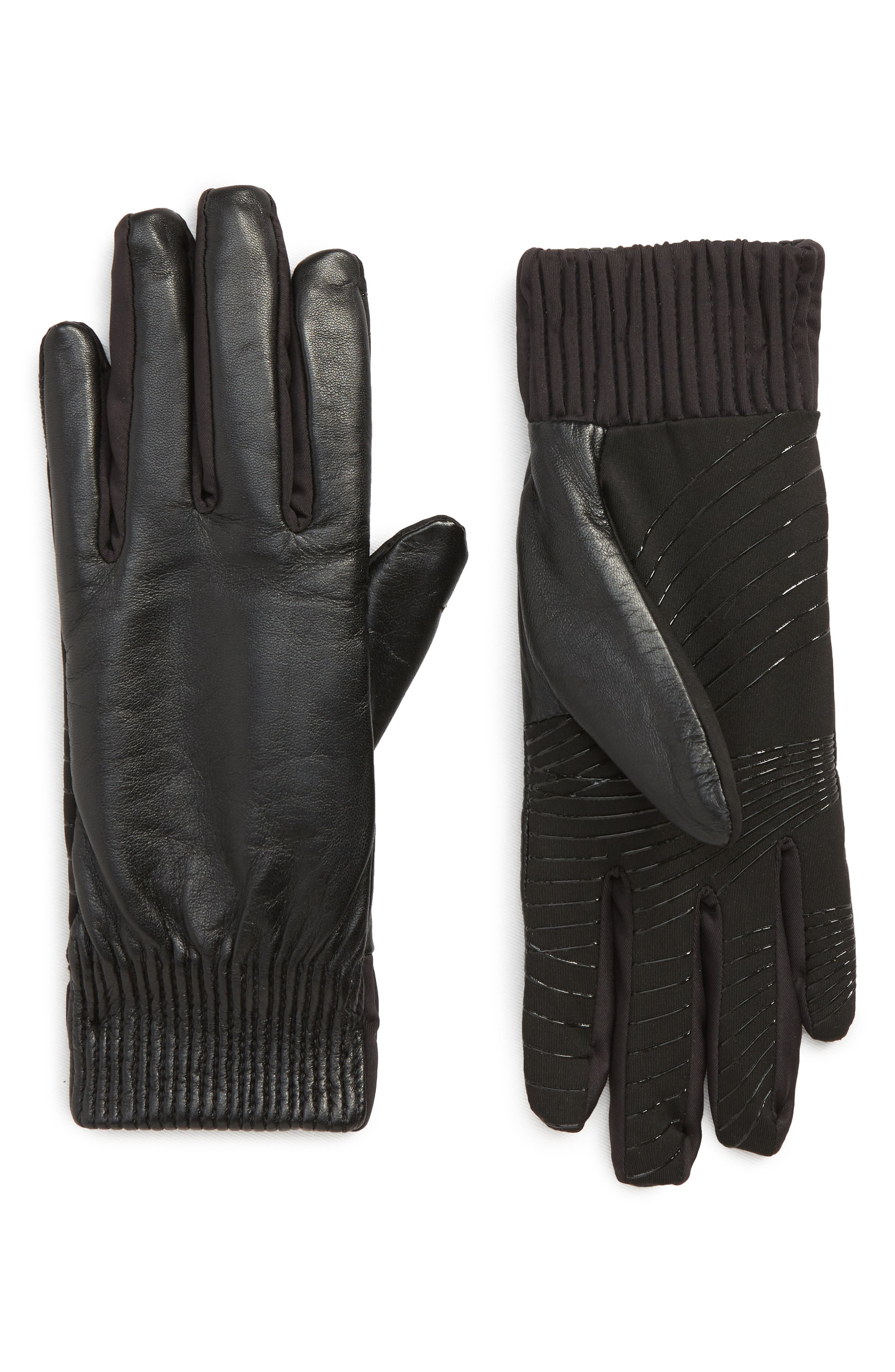 U|R,                             Leather Touchscreen Compatible Gloves,                             Main thumbnail 1, color,                             001