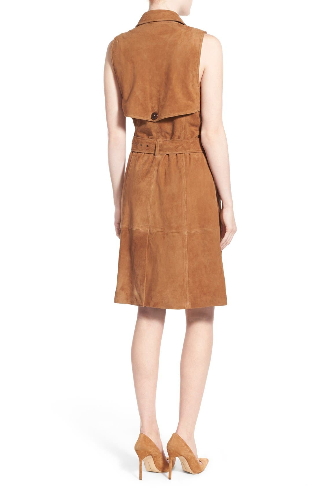 OLIVIA PALERMO + CHELSEA28,                             Sleeveless Suede Trench Dress,                             Alternate thumbnail 3, color,                             235
