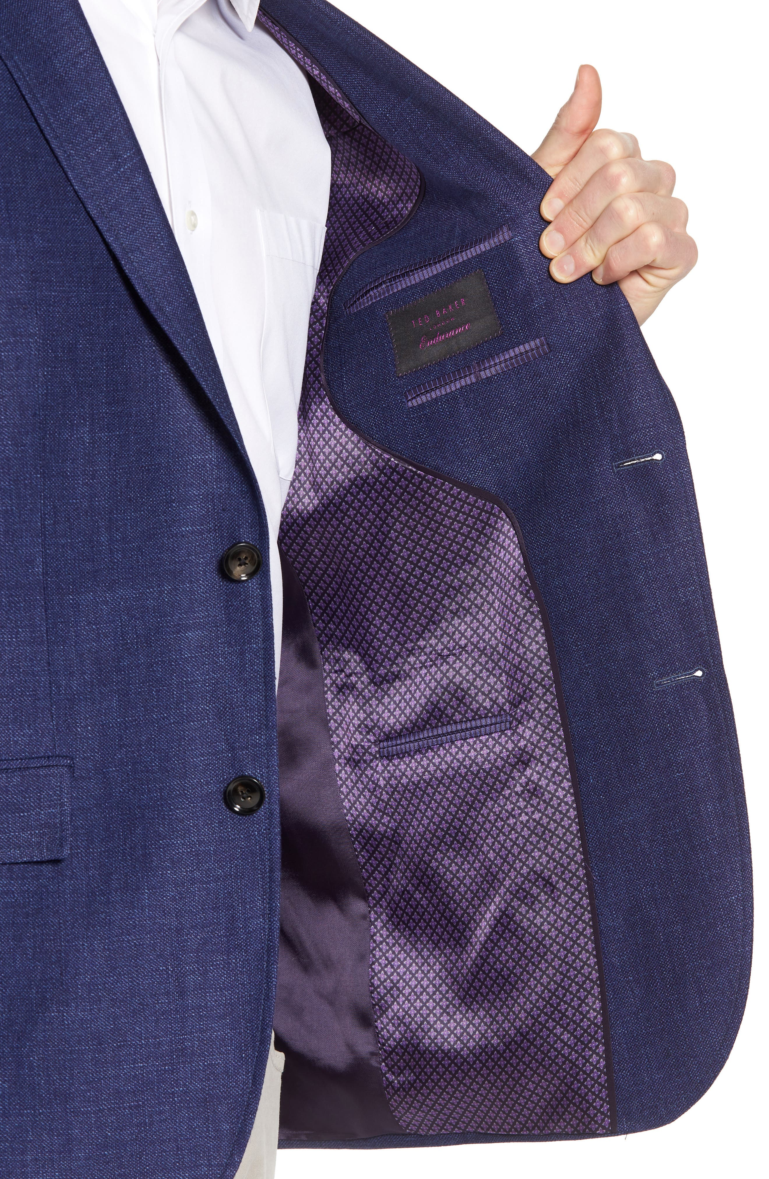 Jay Trim Fit Linen & Wool Blazer,                             Alternate thumbnail 4, color,
