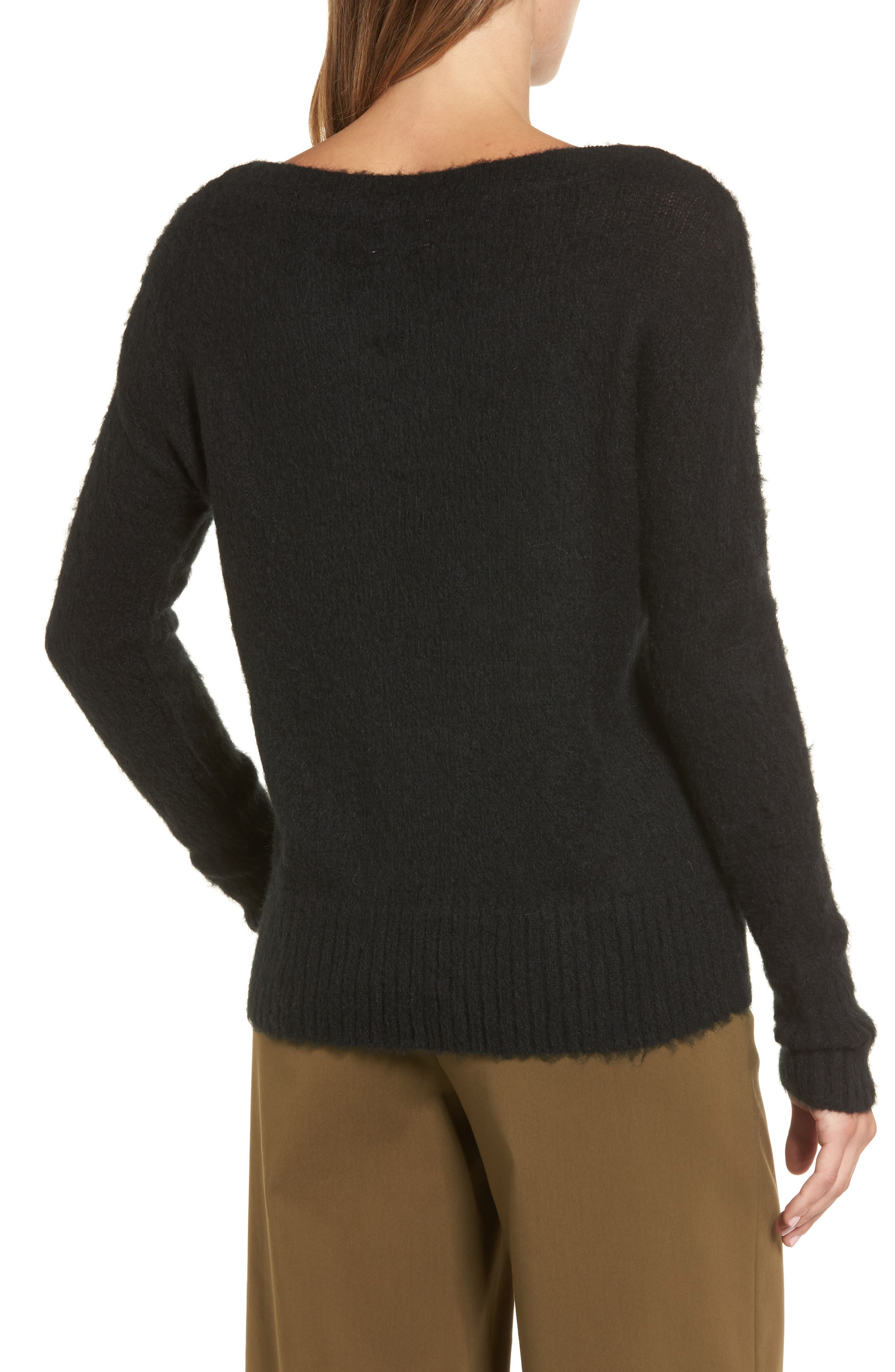 Long Sleeve Brushed Sweater,                             Alternate thumbnail 2, color,                             001