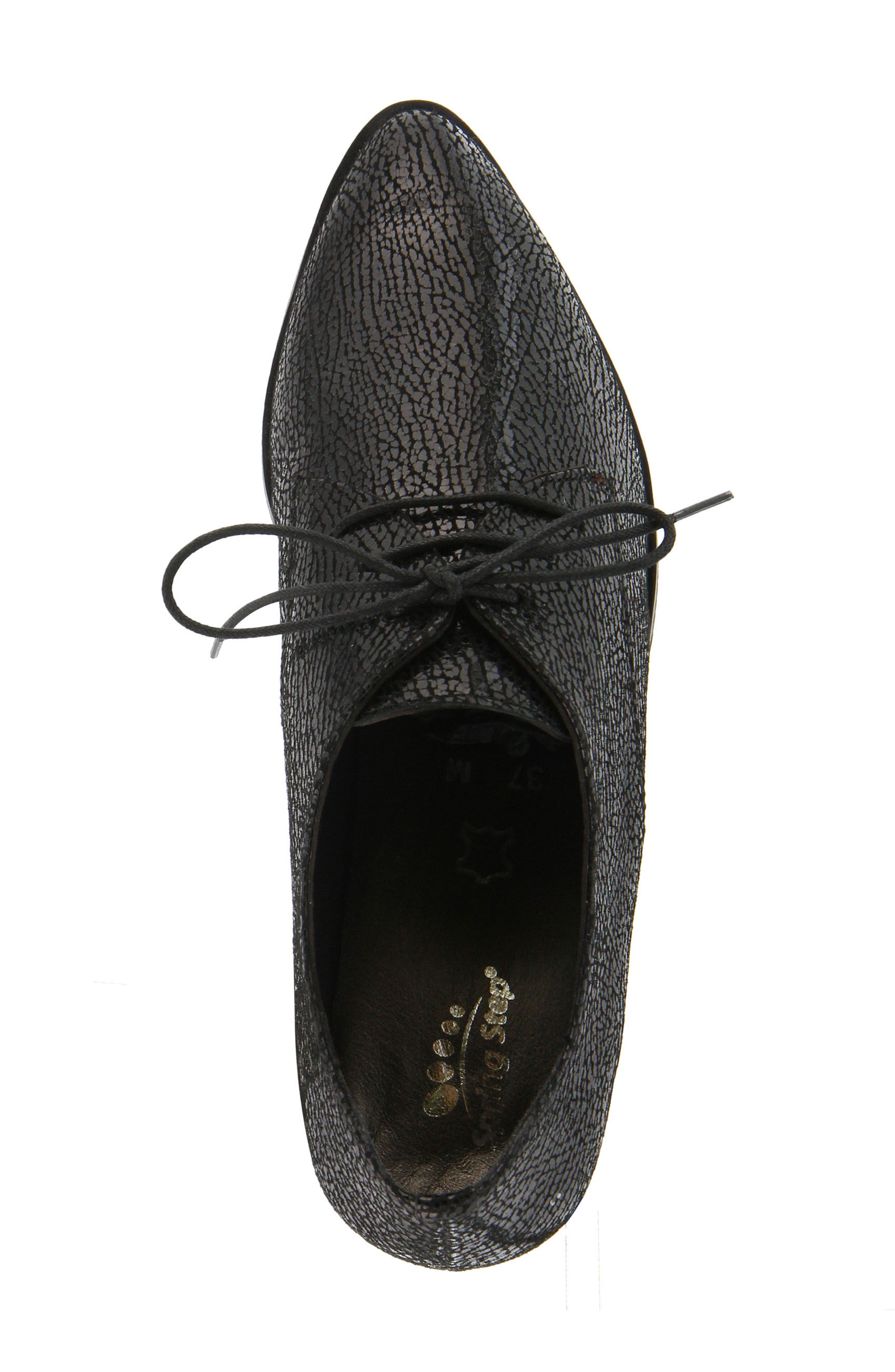 Conchetta Lace-Up Derby,                             Alternate thumbnail 4, color,                             BLACK LEATHER