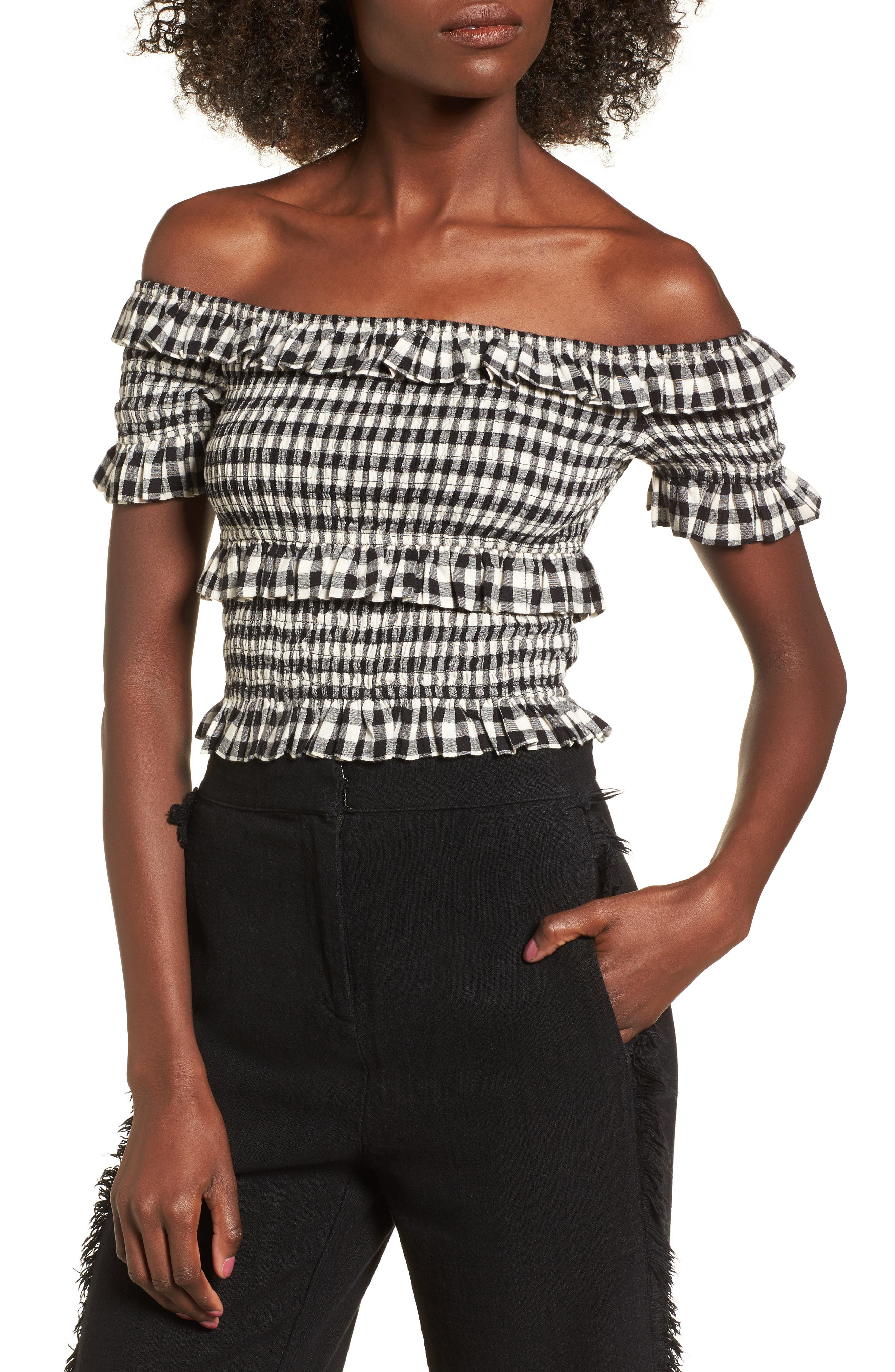 Off the Shoulder Smocked Top,                             Main thumbnail 1, color,                             BLACK GINGHAM