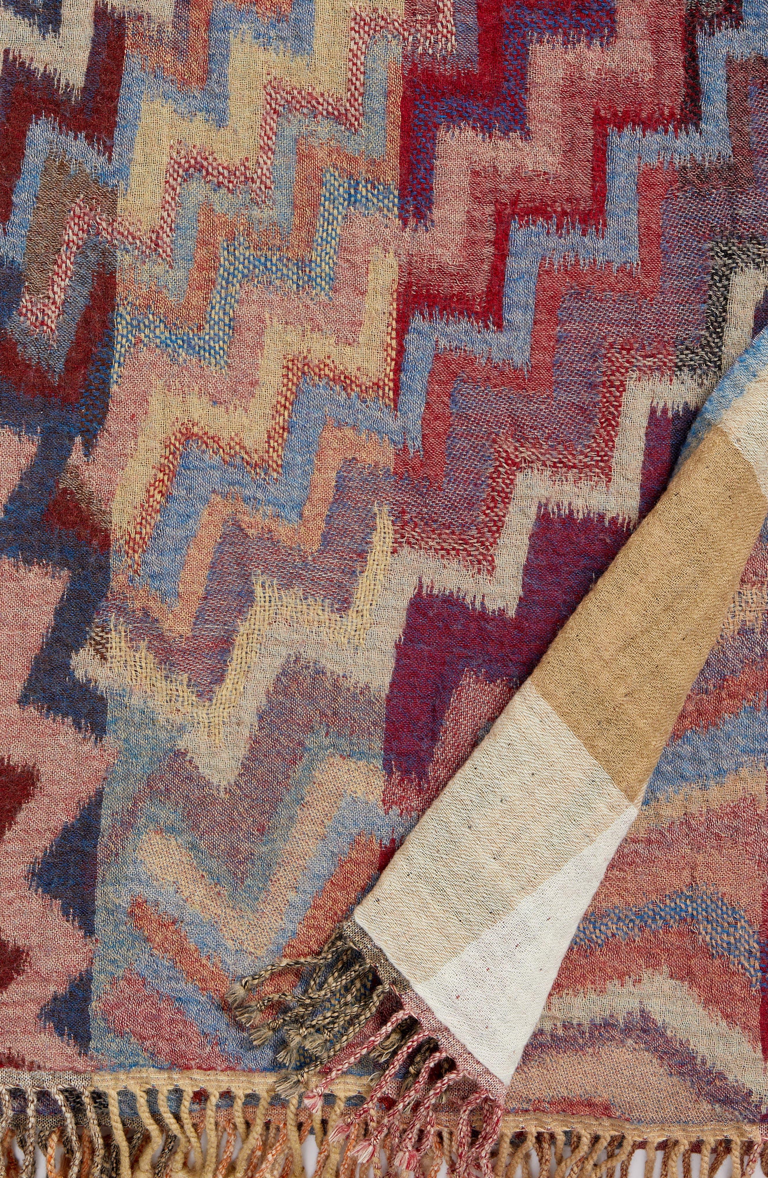 Chevron Double Face Merino Wool Throw,                             Alternate thumbnail 2, color,                             ZIG ZAG