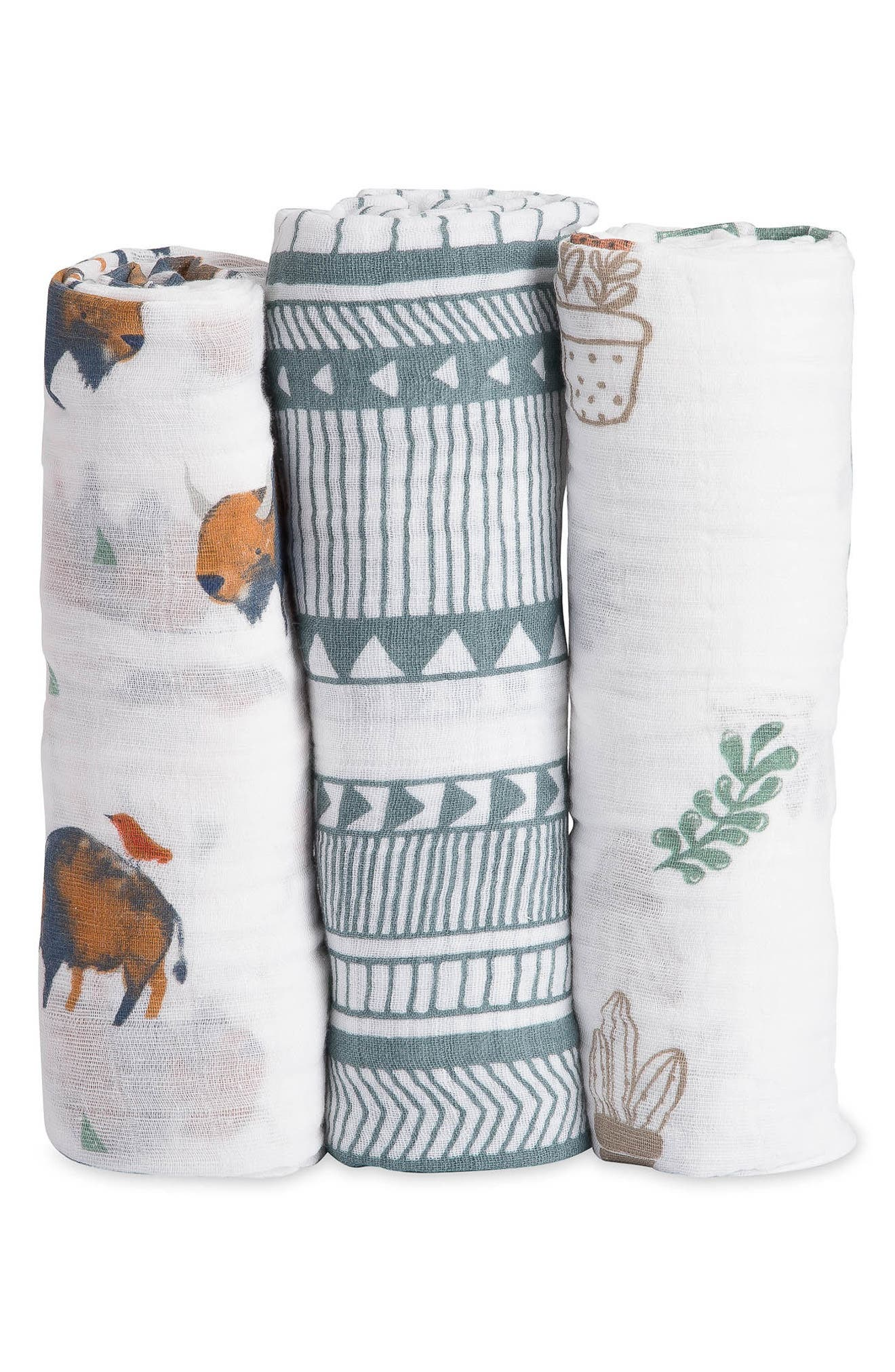 3-Pack Cotton Muslin Blankets,                         Main,                         color, BISON