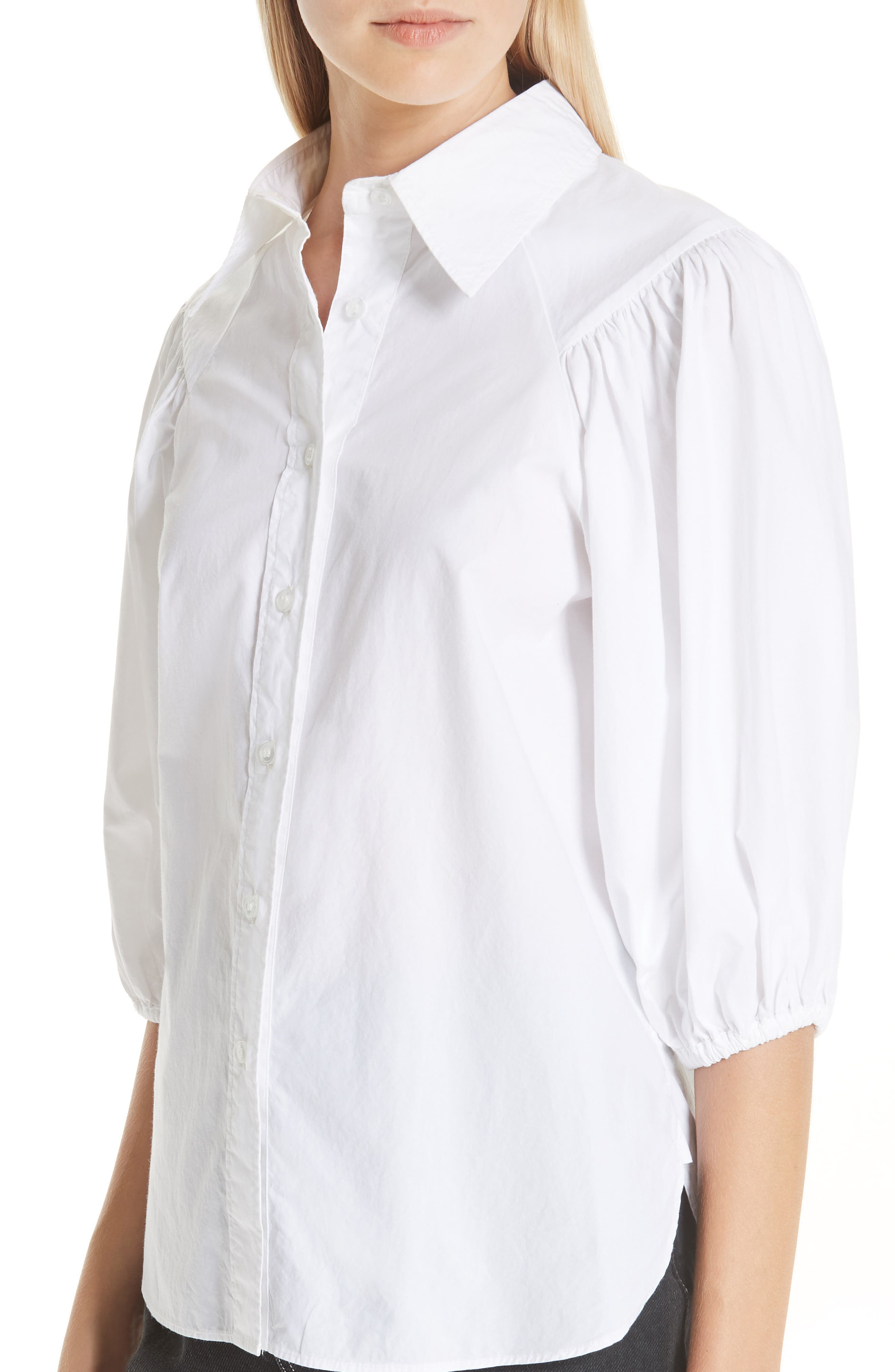 Cotton Poplin Shirt,                             Alternate thumbnail 4, color,                             BRIGHT WHITE 151