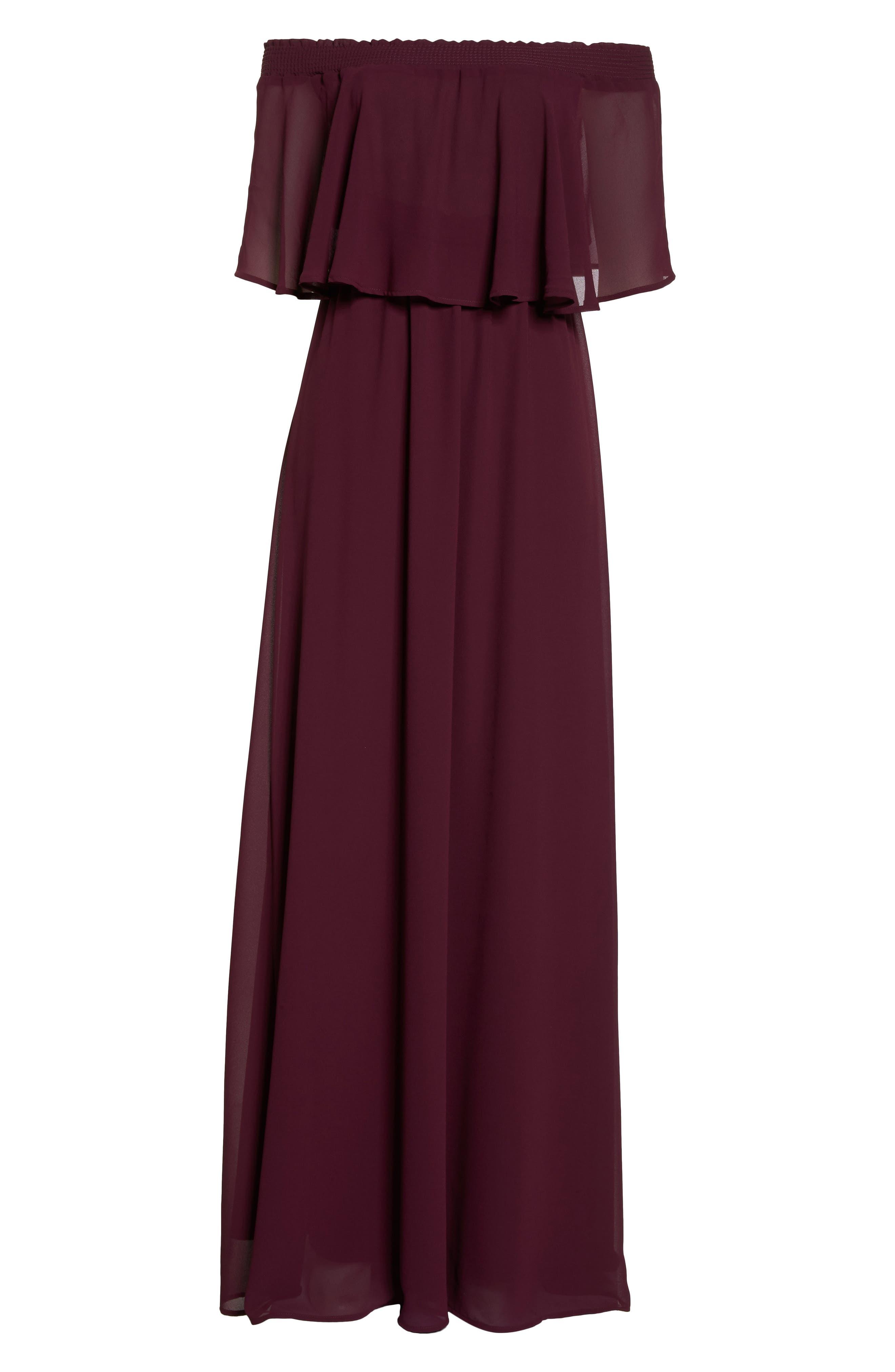 Hacienda Convertible Gown,                             Alternate thumbnail 7, color,                             MERLOT CHIFFON