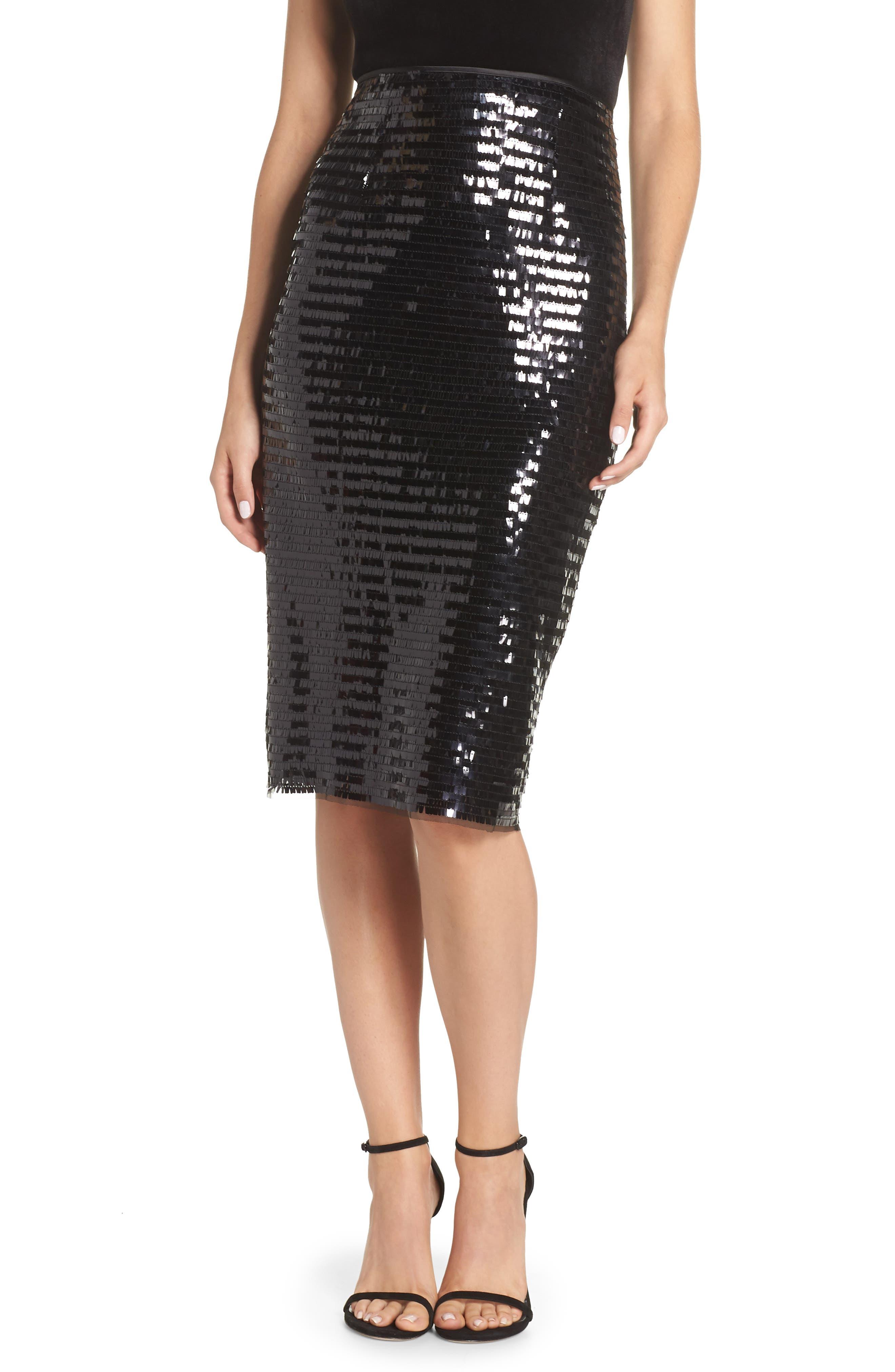 ELIZA J Paillette Sequin Pencil Skirt, Main, color, 001