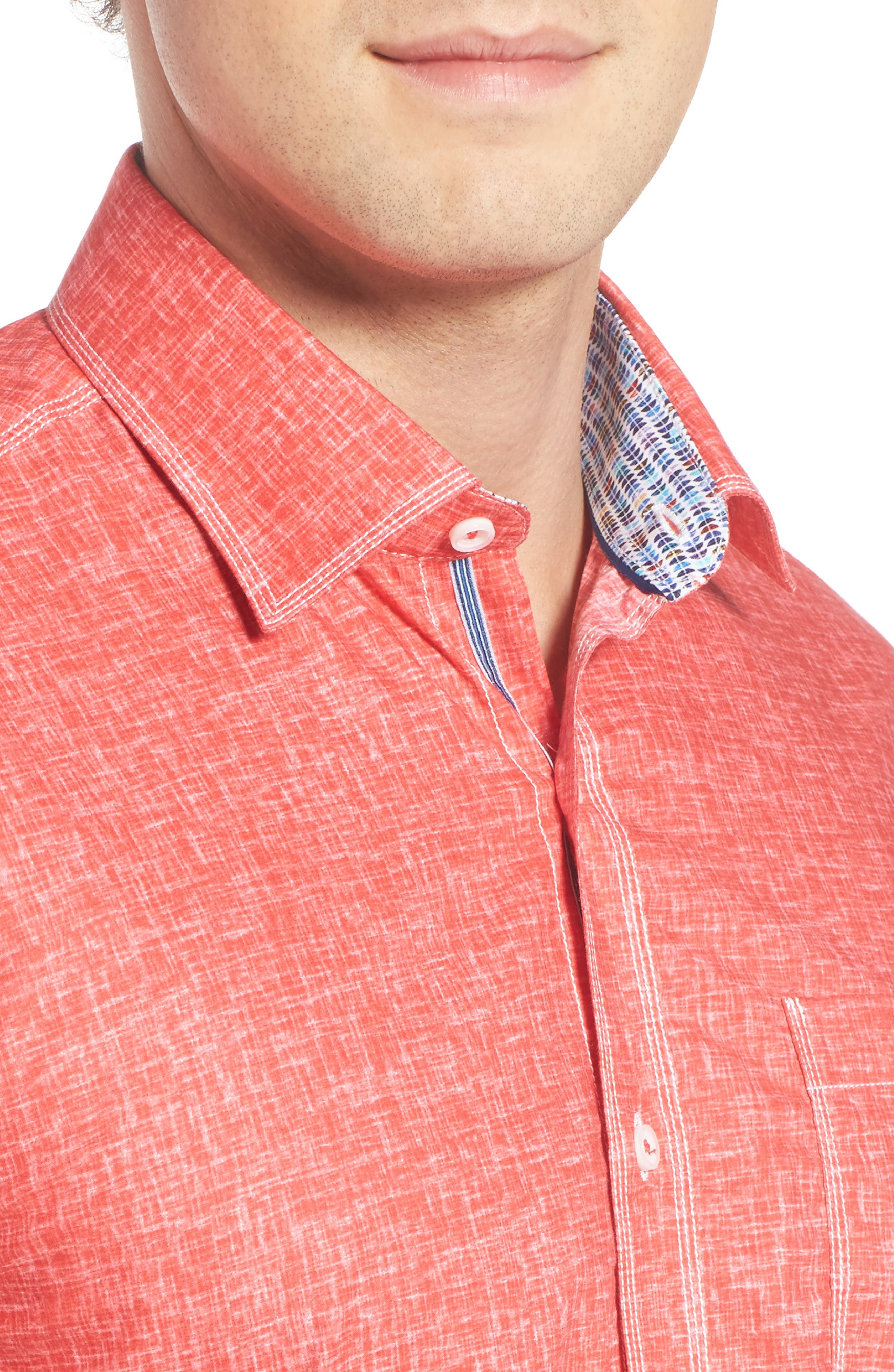 Shaped Fit Solid Sport Shirt,                             Alternate thumbnail 19, color,