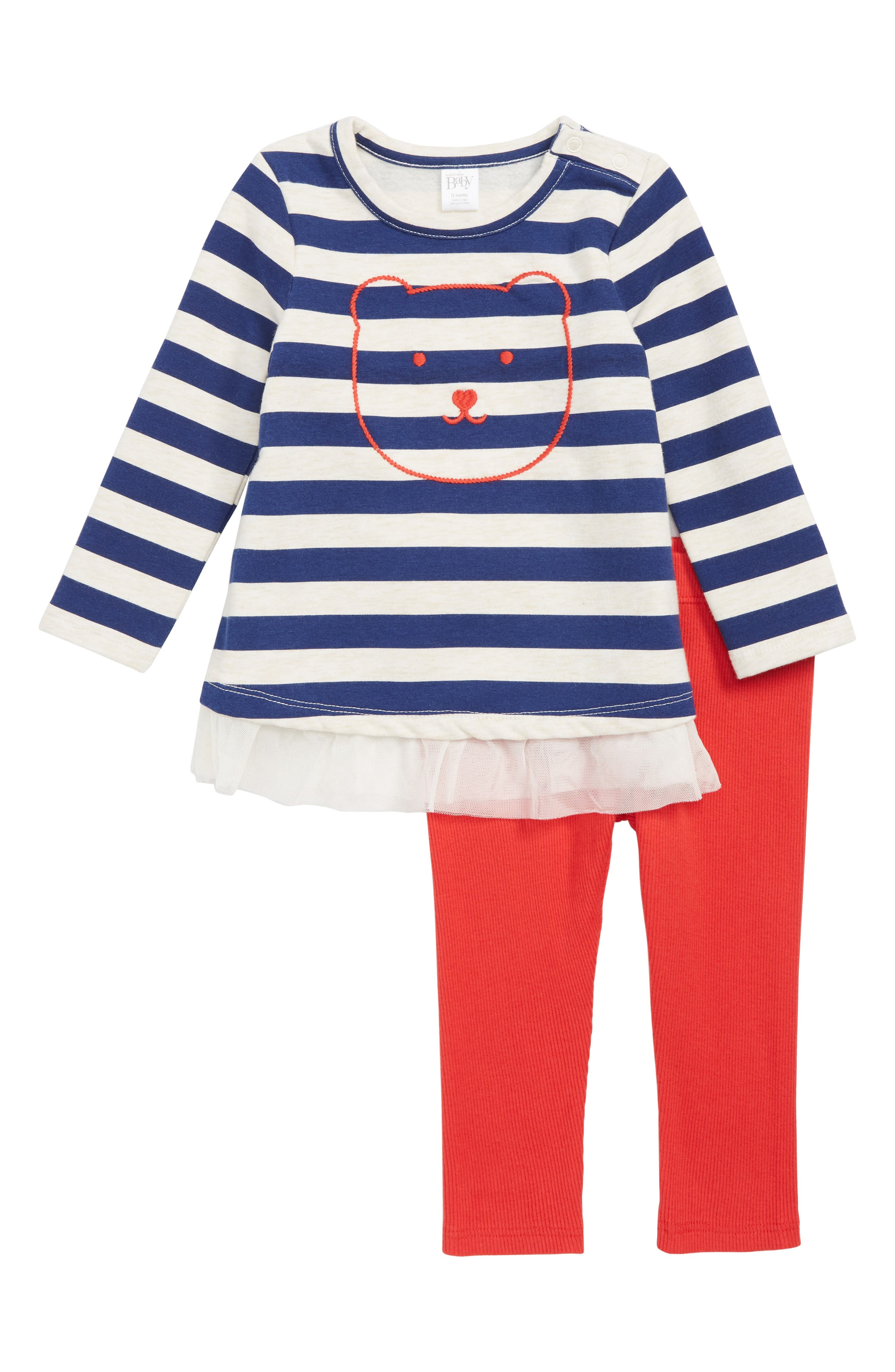 Embroidered Stripe Tunic & Leggings Set,                         Main,                         color, BLUE DEPTHS- RED BEAR