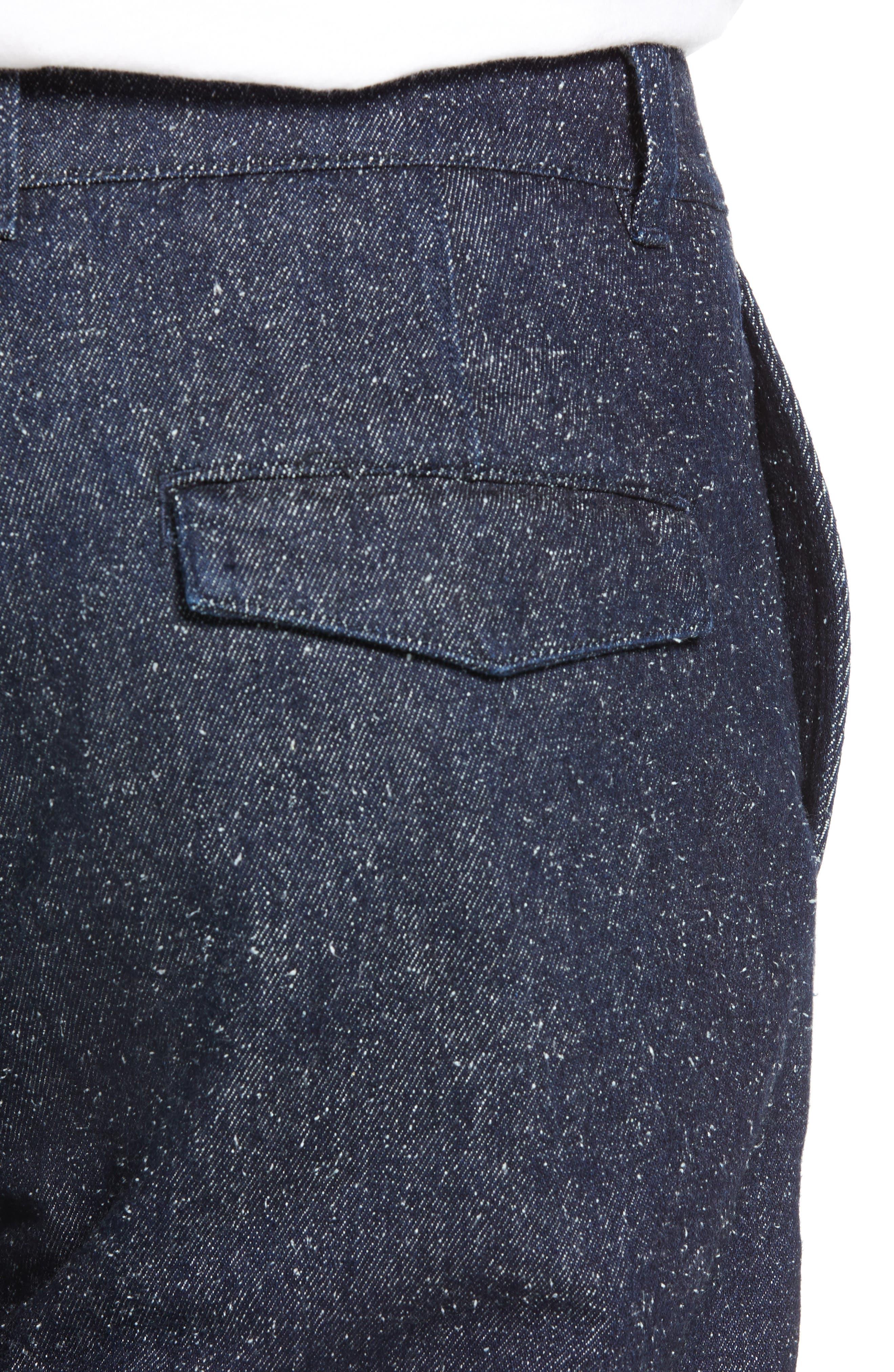 Tapered Straight Leg Cotton & Silk Trousers,                             Alternate thumbnail 4, color,                             NEPPY DENIM