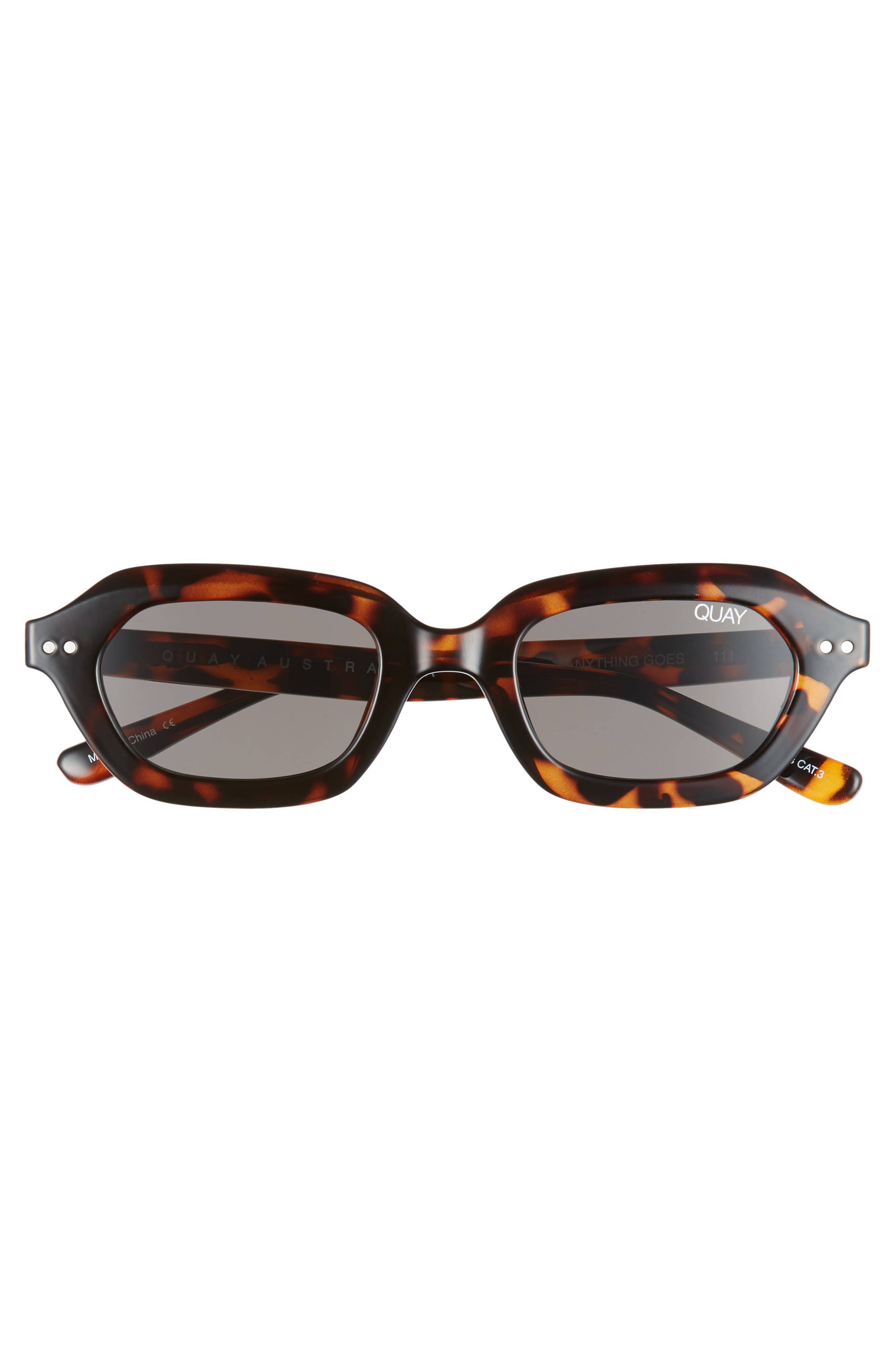x Finders Keepers Anything Goes 49mm Square Sunglasses,                             Alternate thumbnail 3, color,                             TORTOISE/ SMOKE