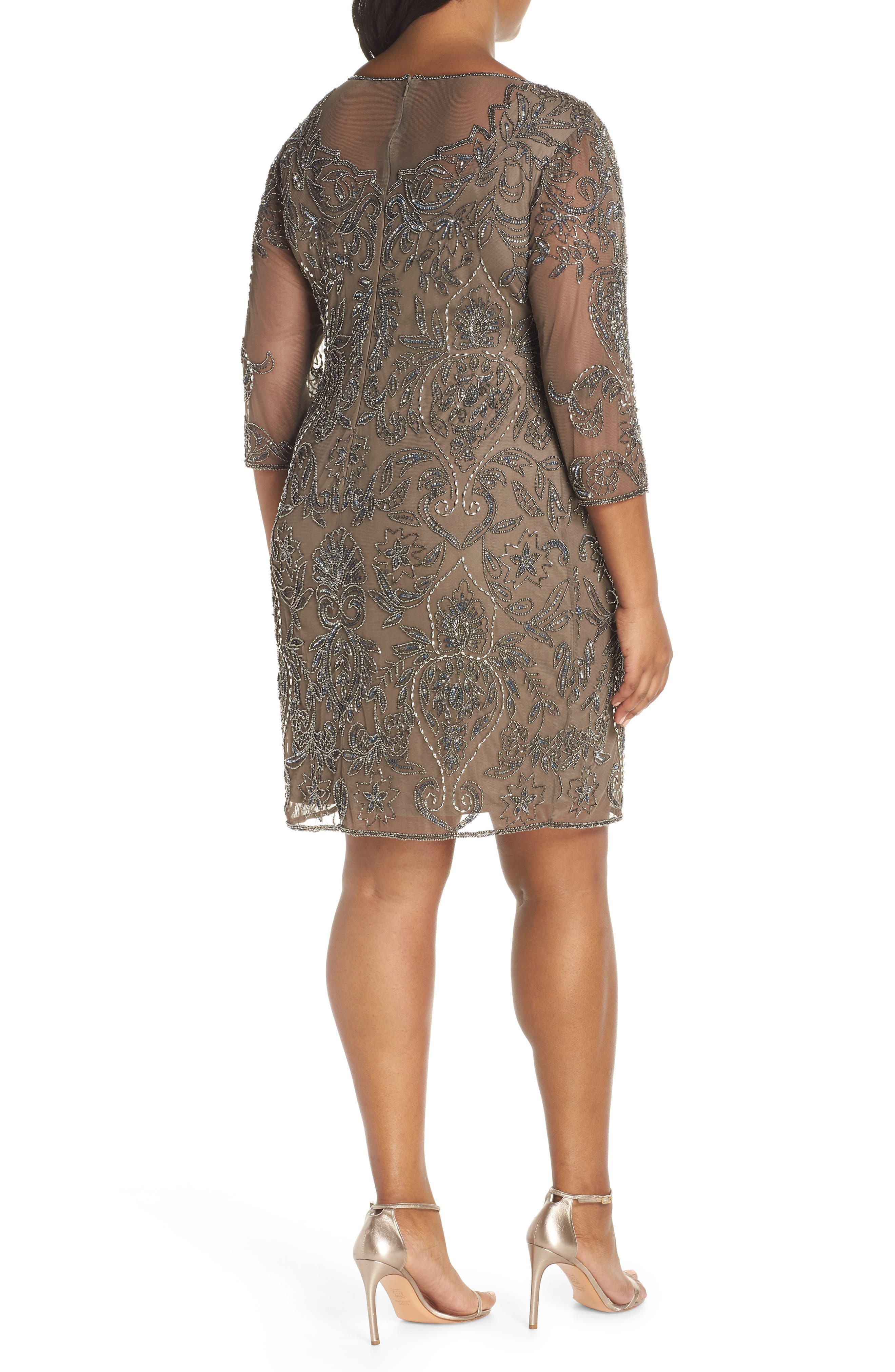 Embellished Mesh Sheath Dress,                             Alternate thumbnail 2, color,                             MOCHA