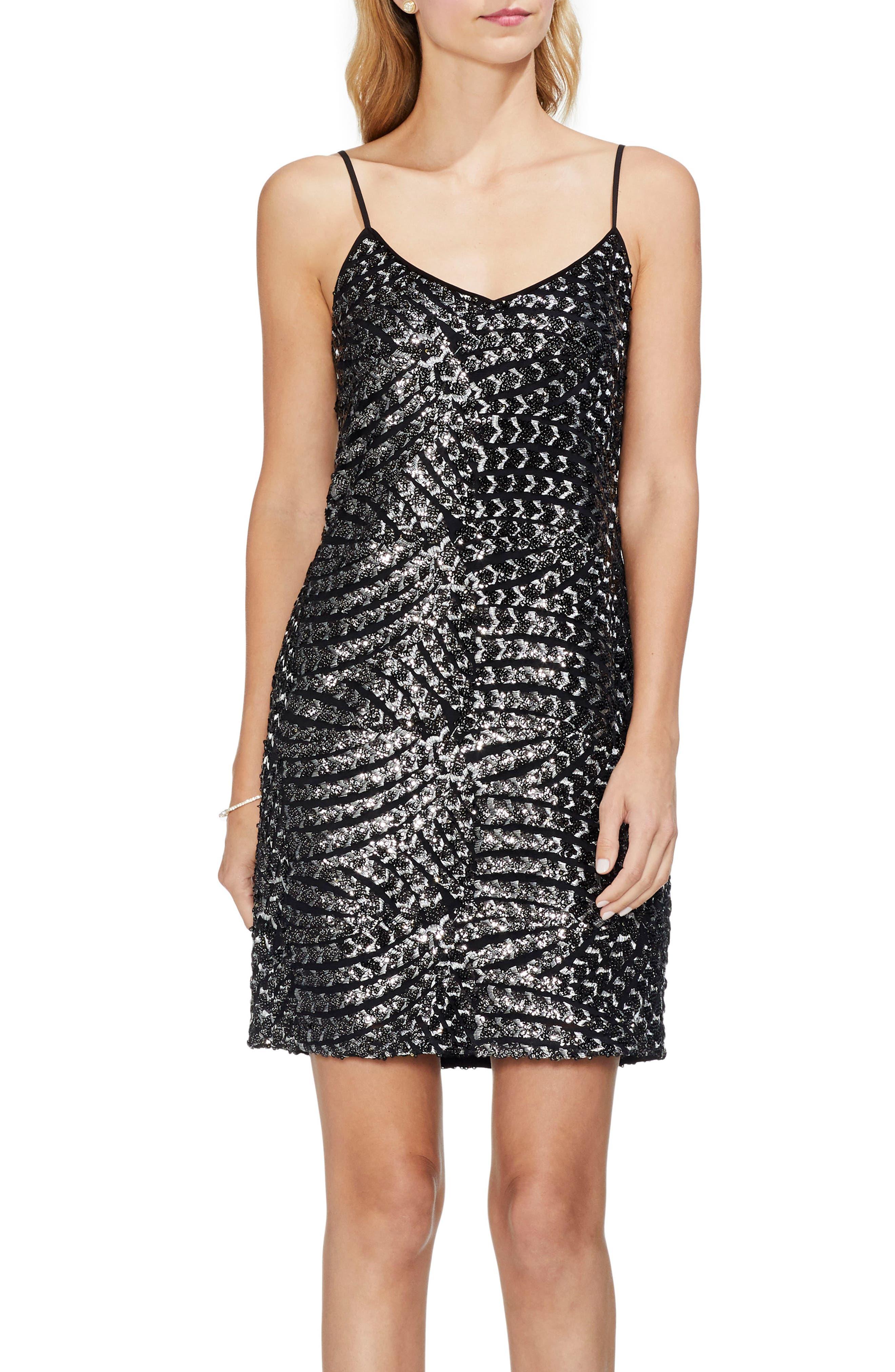 Silver Fan Sequin Camisole Dress,                             Alternate thumbnail 3, color,                             RICH BLACK