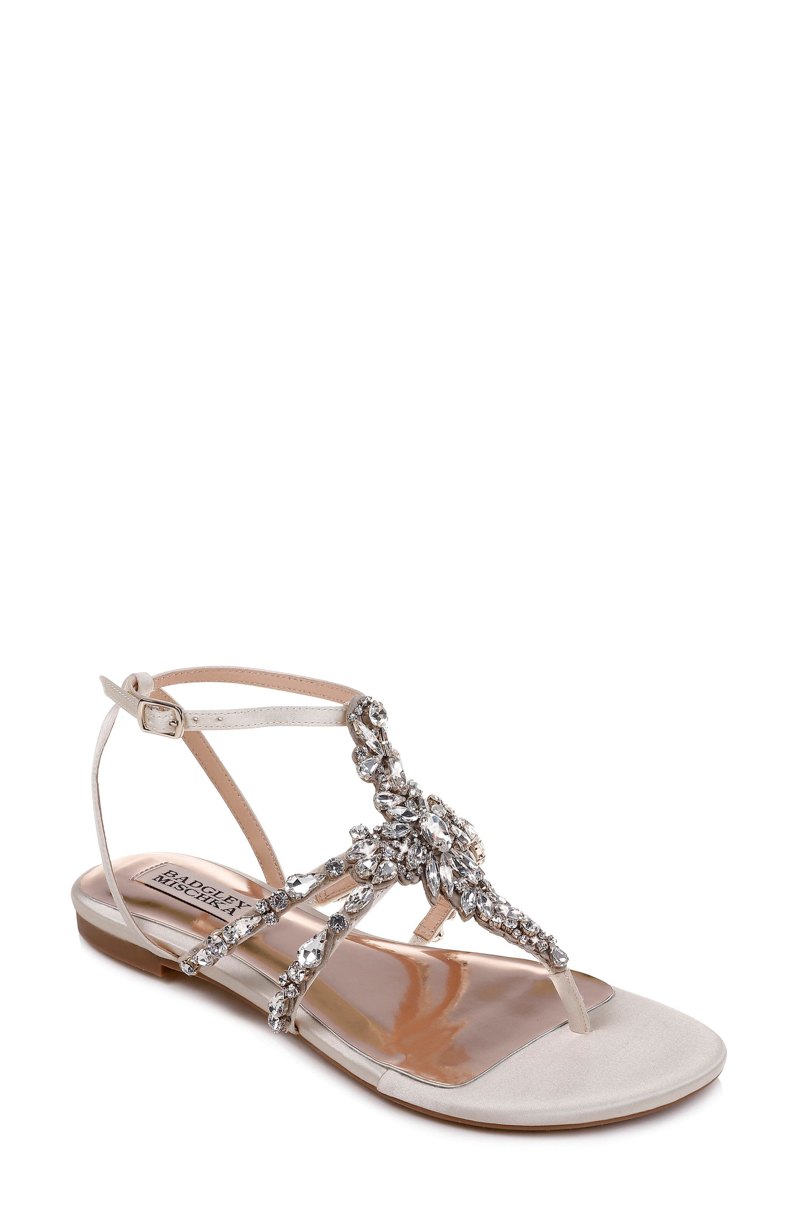 Badgley Mischka Hampden Crystal Embellished Sandal, White