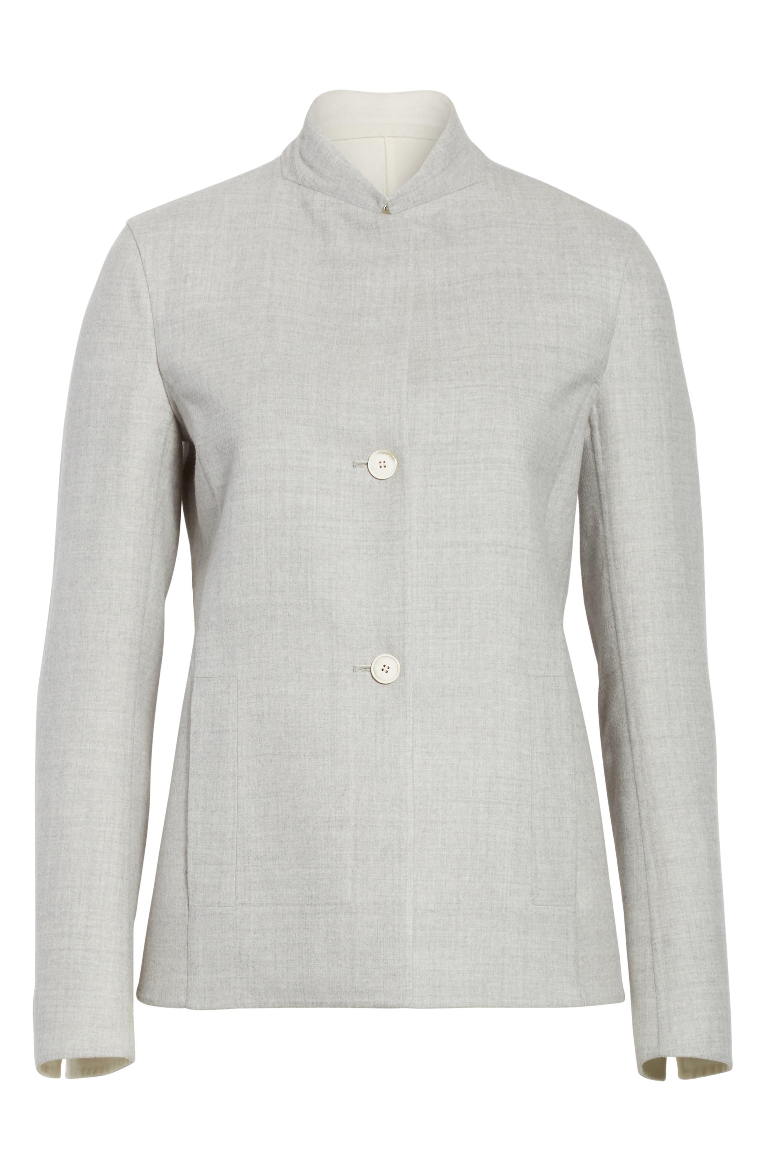 Stretch Wool & Silk Bicolor Reversible Jacket,                             Alternate thumbnail 5, color,                             020