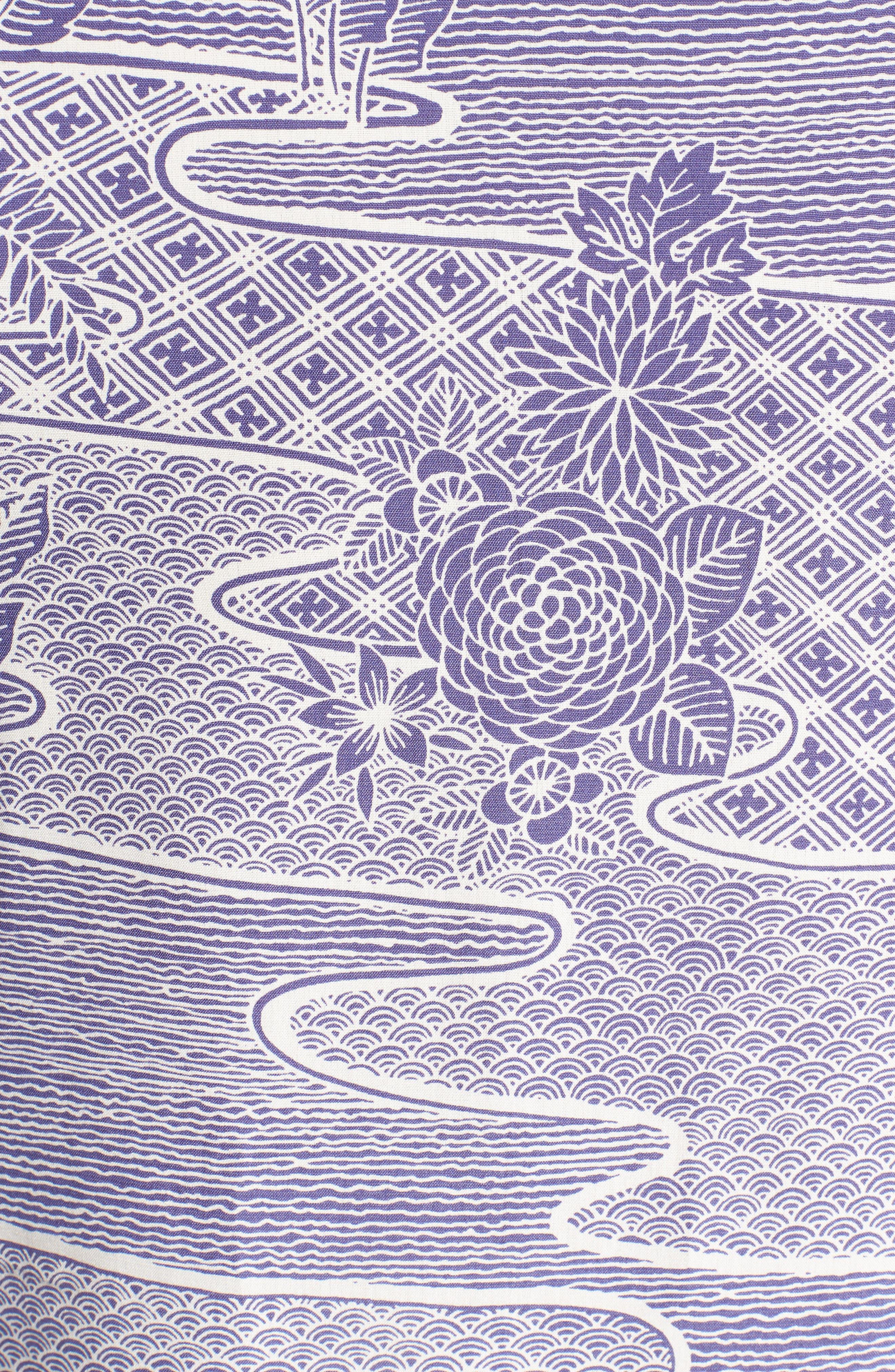Zen Garden Trim Fit Silk Blend Camp Shirt,                             Alternate thumbnail 5, color,                             AMETHYST
