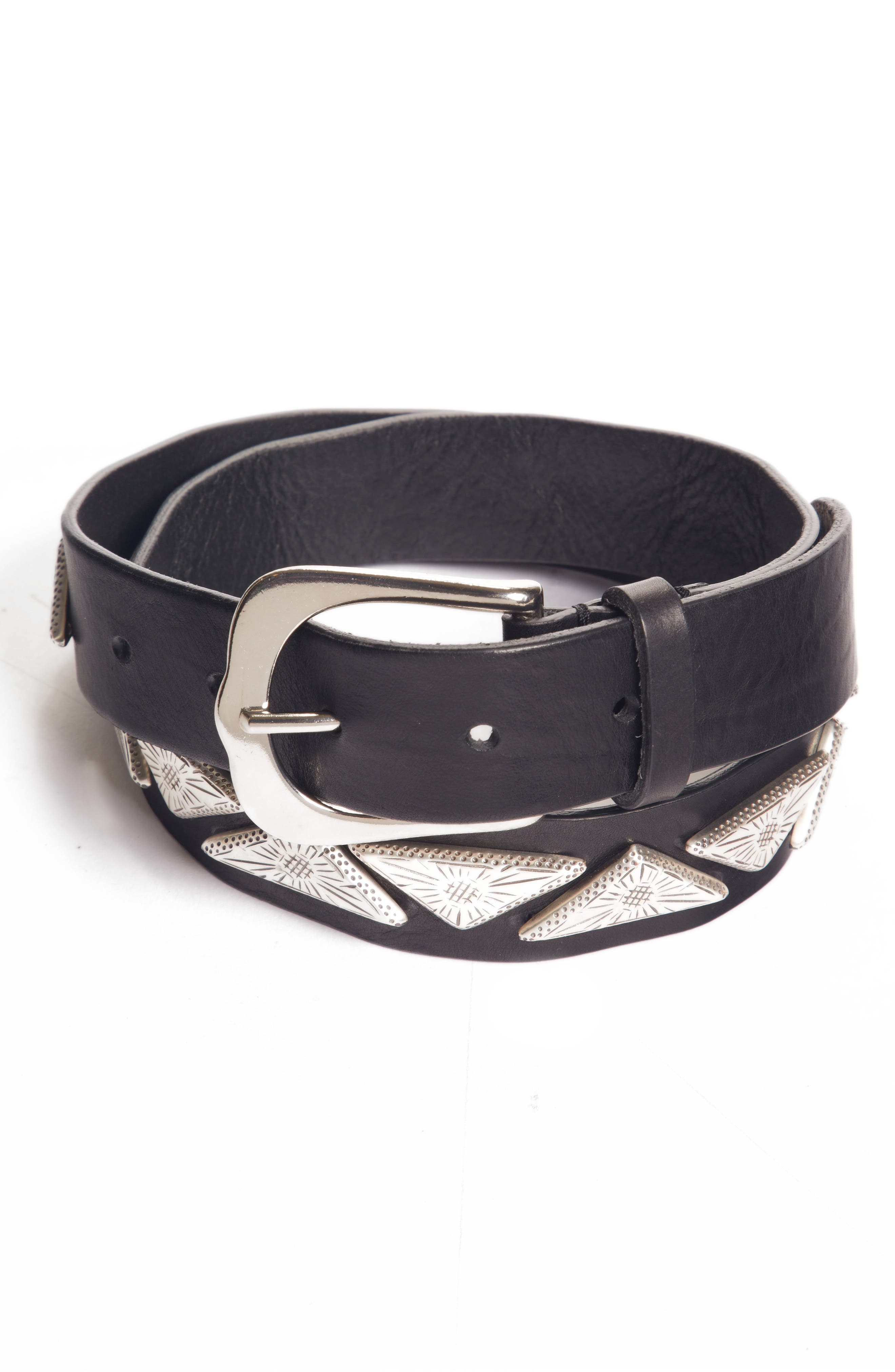 Nyzo Studded Leather Belt,                         Main,                         color, 001