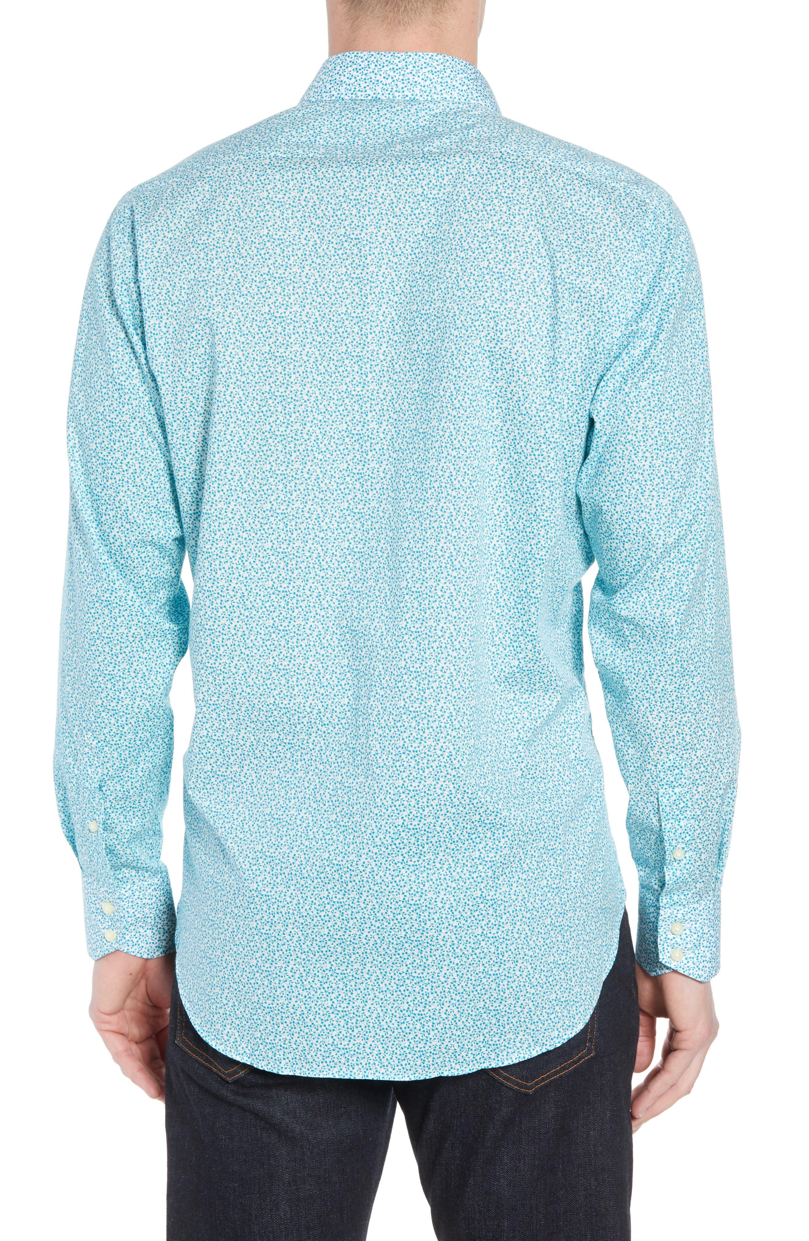 THOMAS DEAN,                             Regular Fit Floral Print Sport Shirt,                             Alternate thumbnail 2, color,                             300
