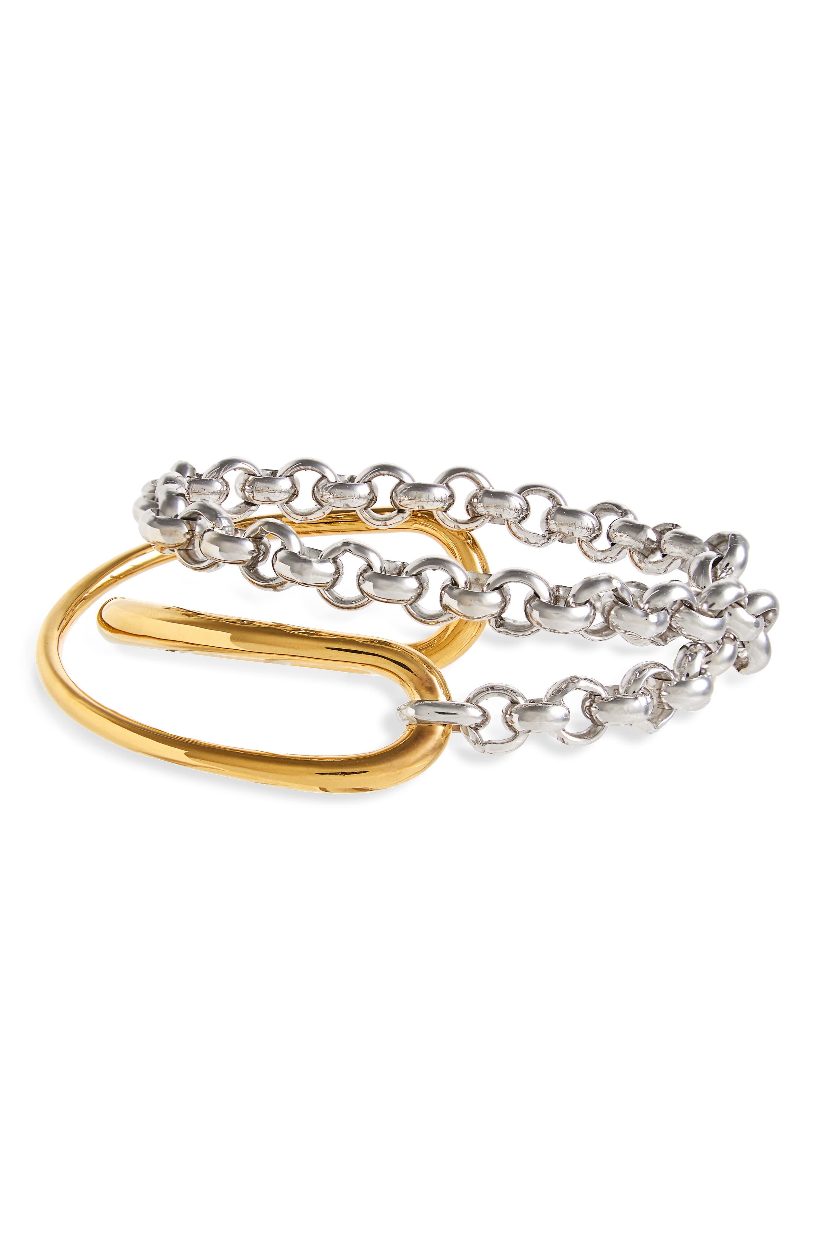 Charlotte Chenais Initial Chain Bracelet,                             Main thumbnail 1, color,                             YELLOW SILVER