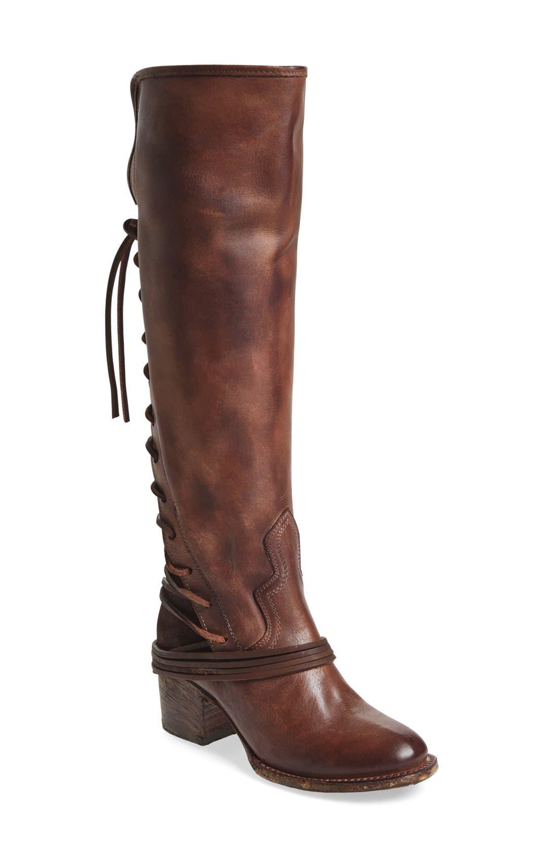 'Coal' Tall Leather Boot,                             Main thumbnail 1, color,                             PLUM