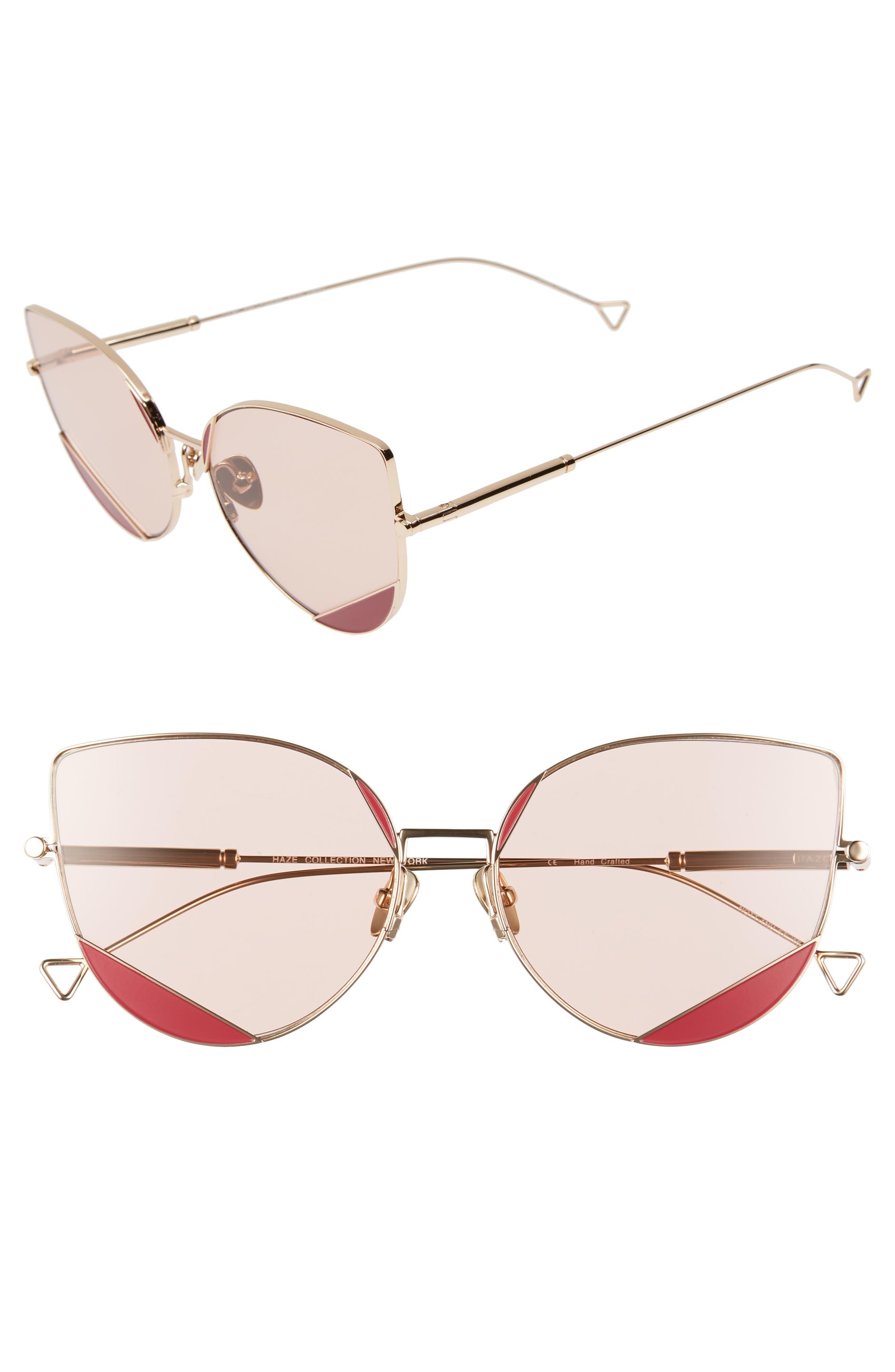 HAZE The Nott 57mm Sunglasses, Main, color, DEEP CLARET