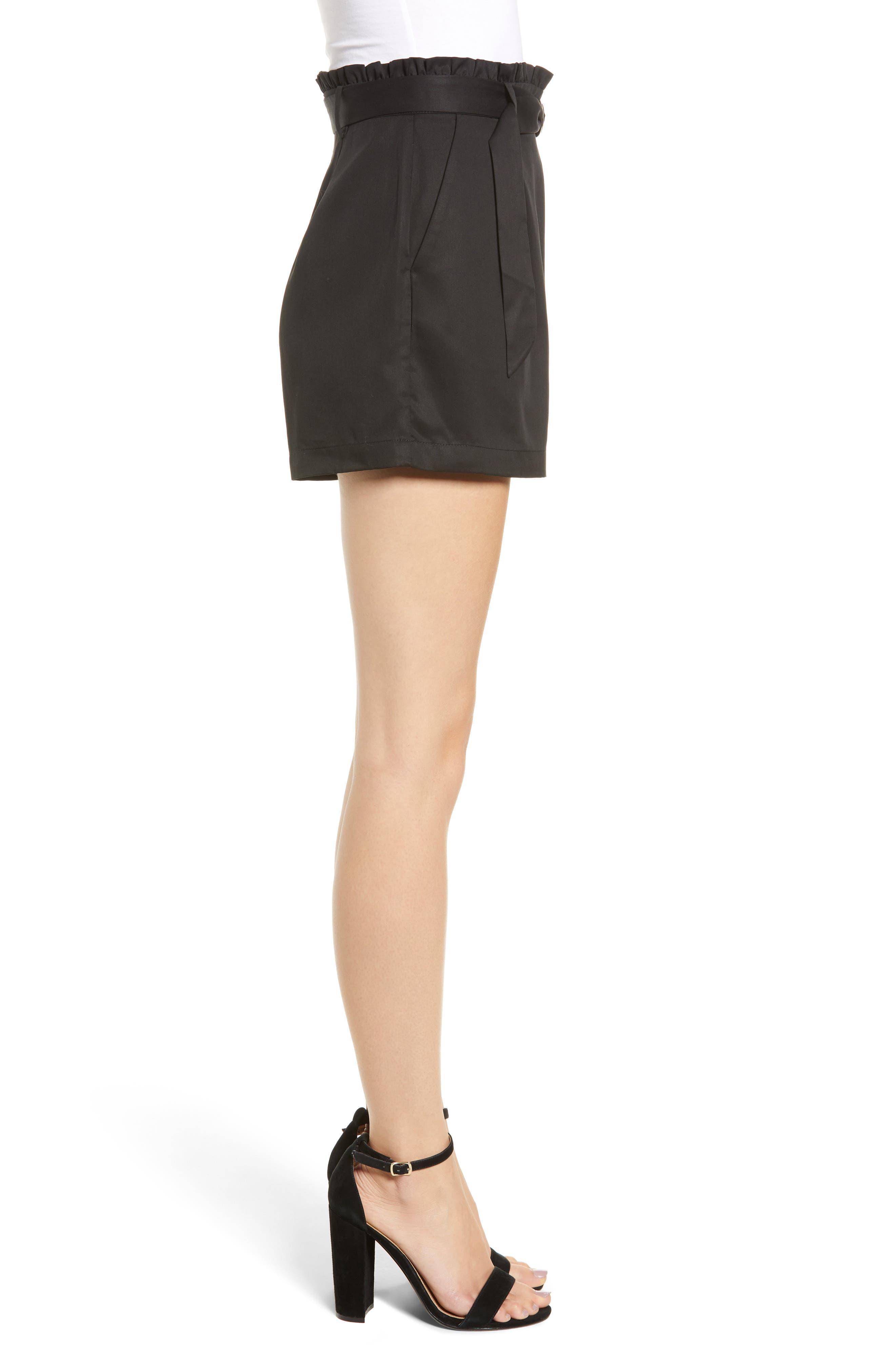 D-Ring Belted Shorts,                             Alternate thumbnail 3, color,                             BLACK