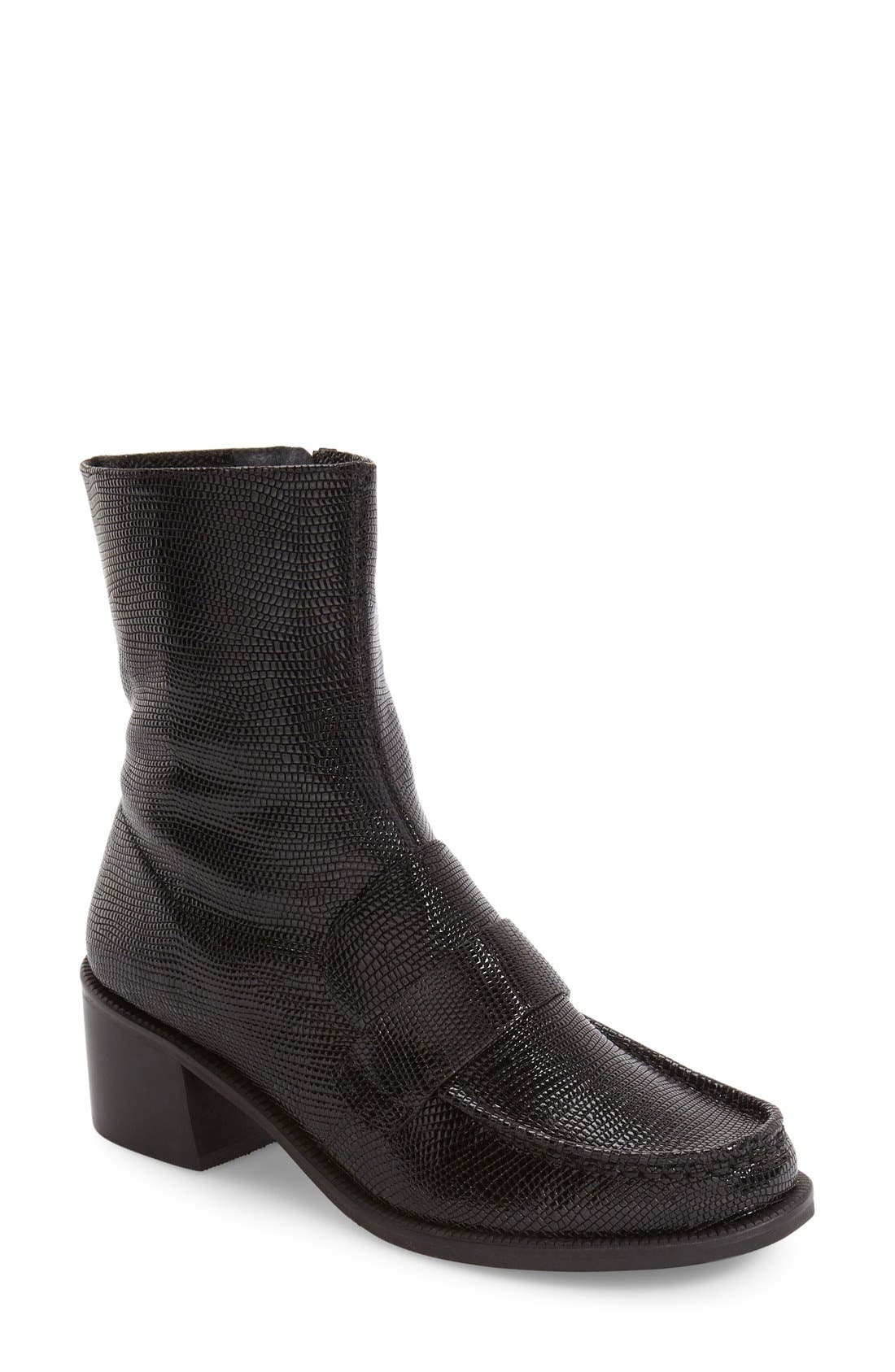 TOPSHOP,                             Loafer Bootie,                             Main thumbnail 1, color,                             001