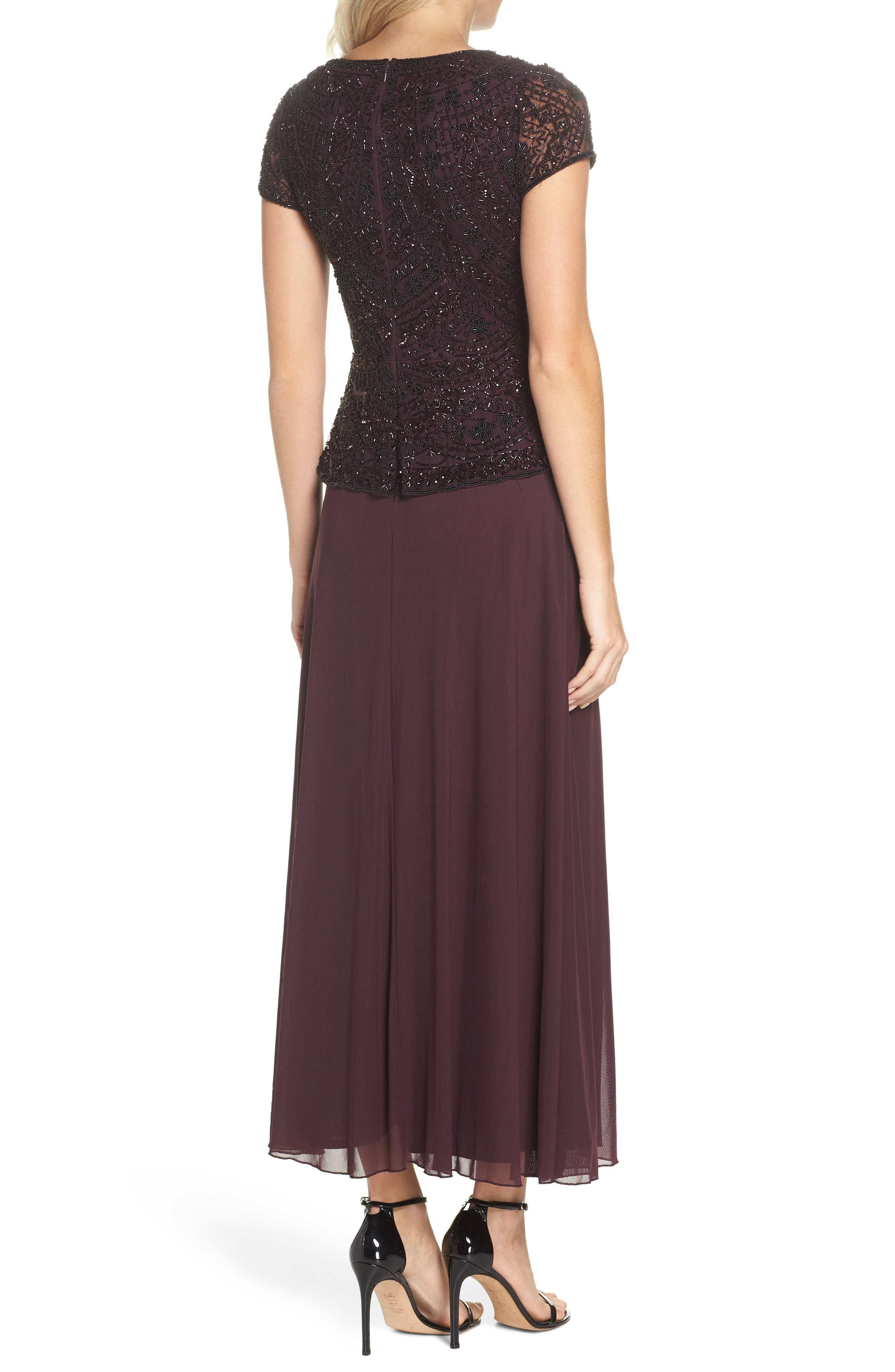 Beaded V-Neck Mock Two-Piece Gown,                             Alternate thumbnail 2, color,                             WINE