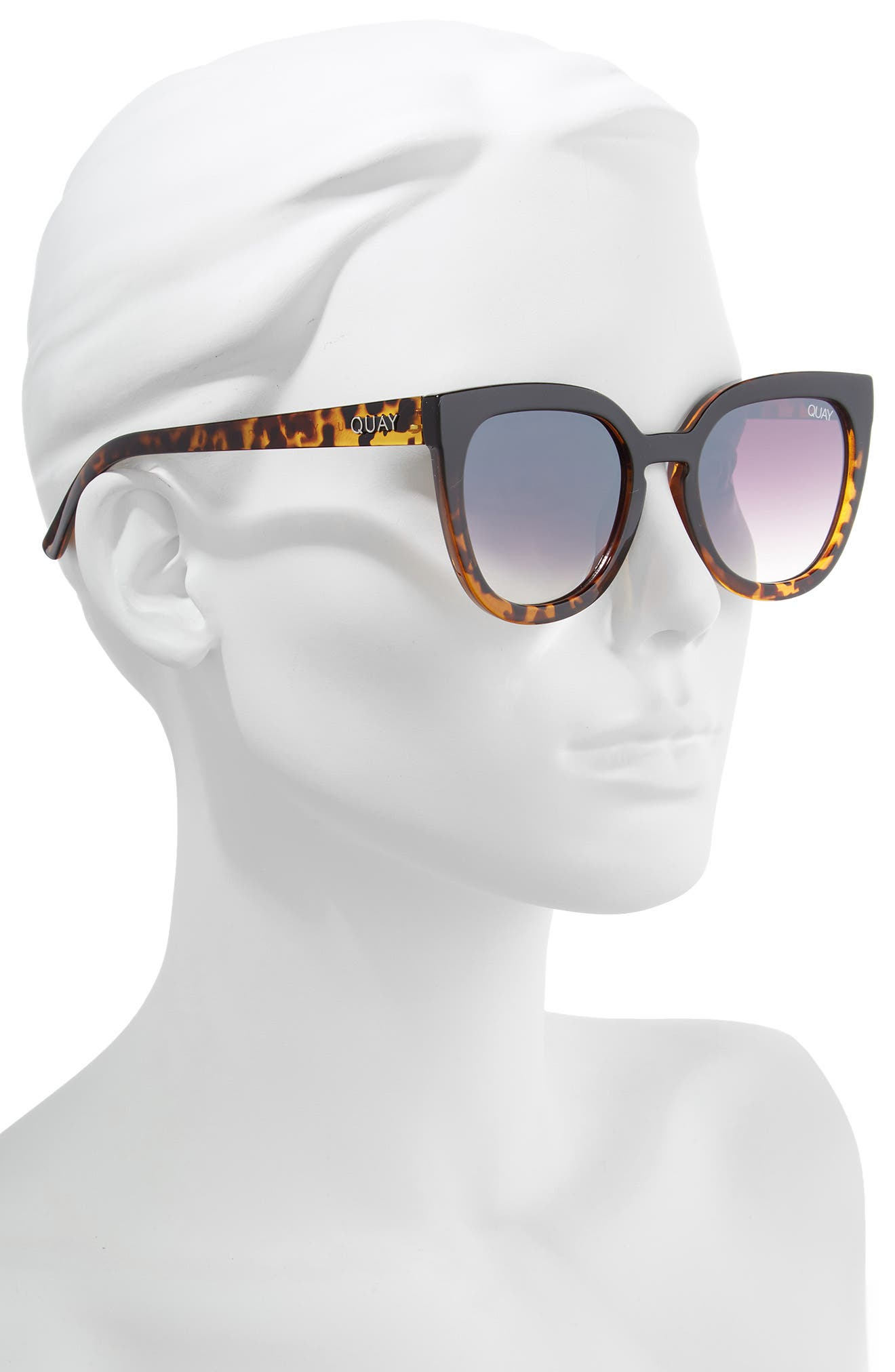 Noosa 50mm Square Sunglasses,                             Alternate thumbnail 2, color,                             BLACK TO TORT / BROWN FADE