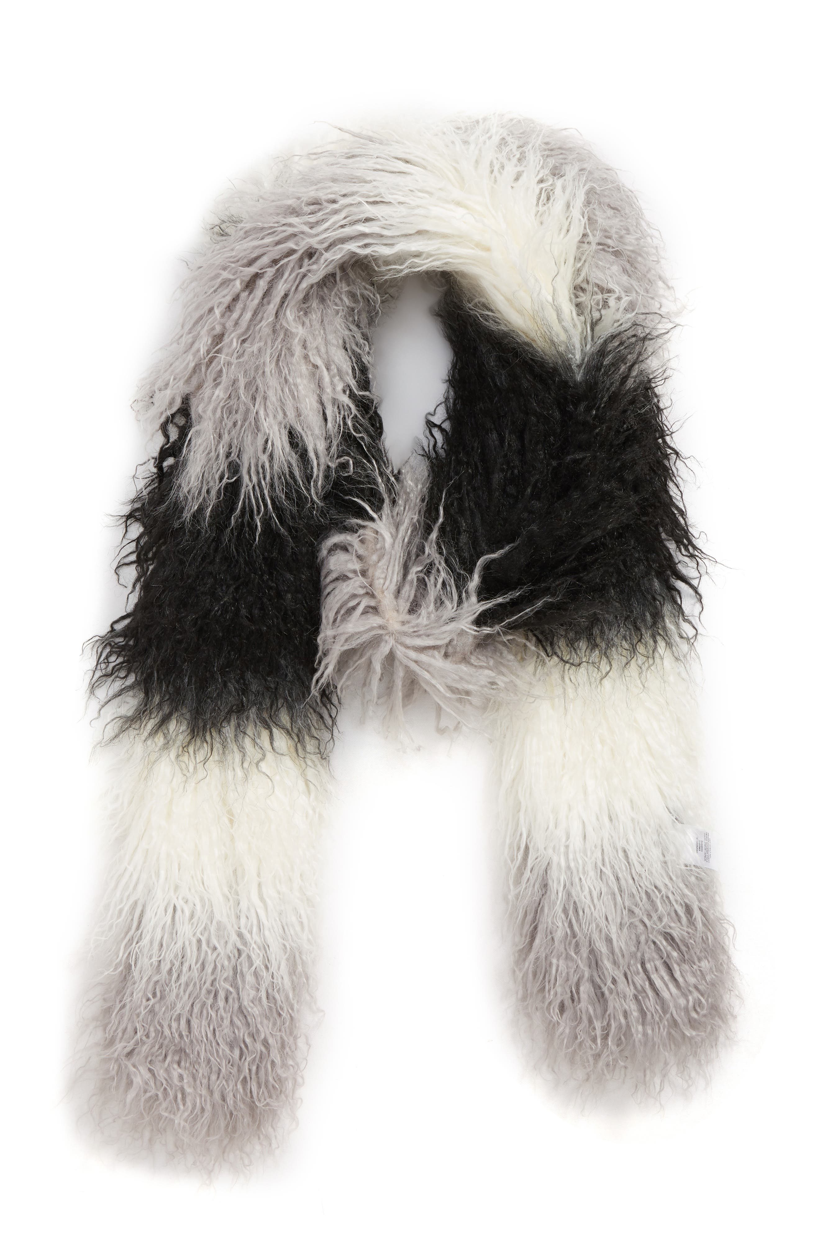 Long Faux Fur Scarf,                             Alternate thumbnail 2, color,                             BLACK COMBO