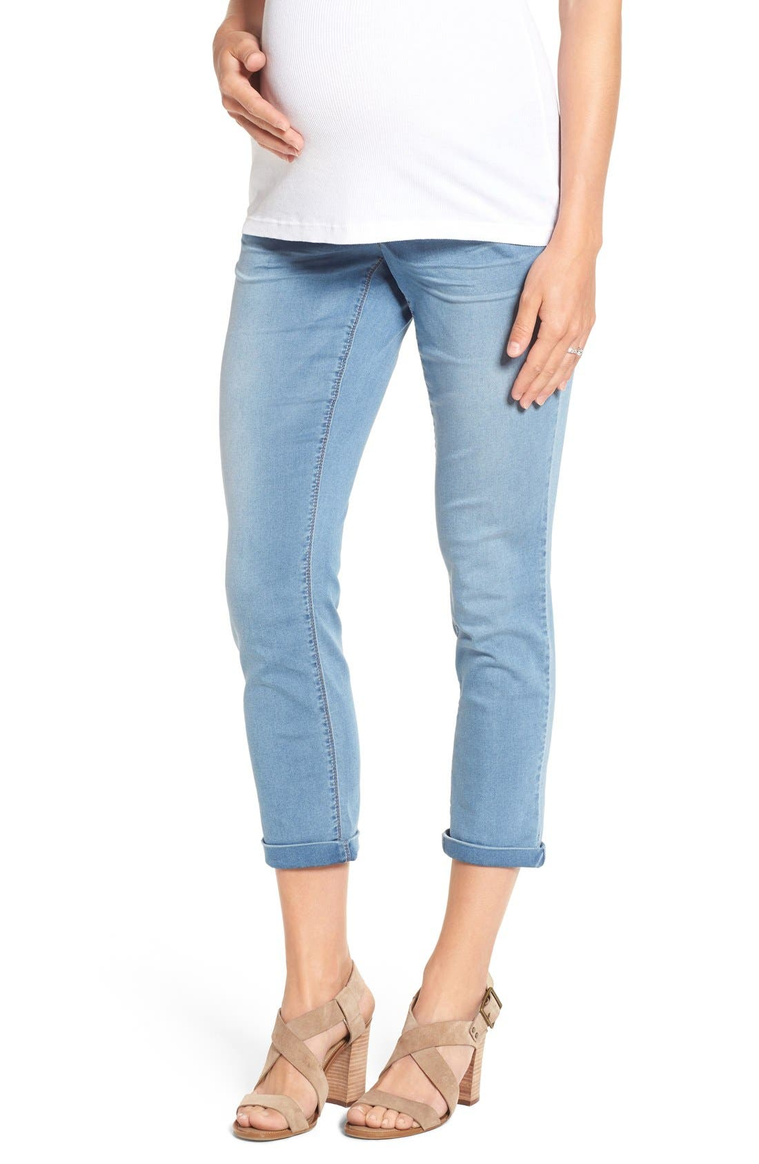 'Ankle Biter' Over the Bump Rolled Cuff Maternity Skinny Jeans,                             Main thumbnail 1, color,                             452