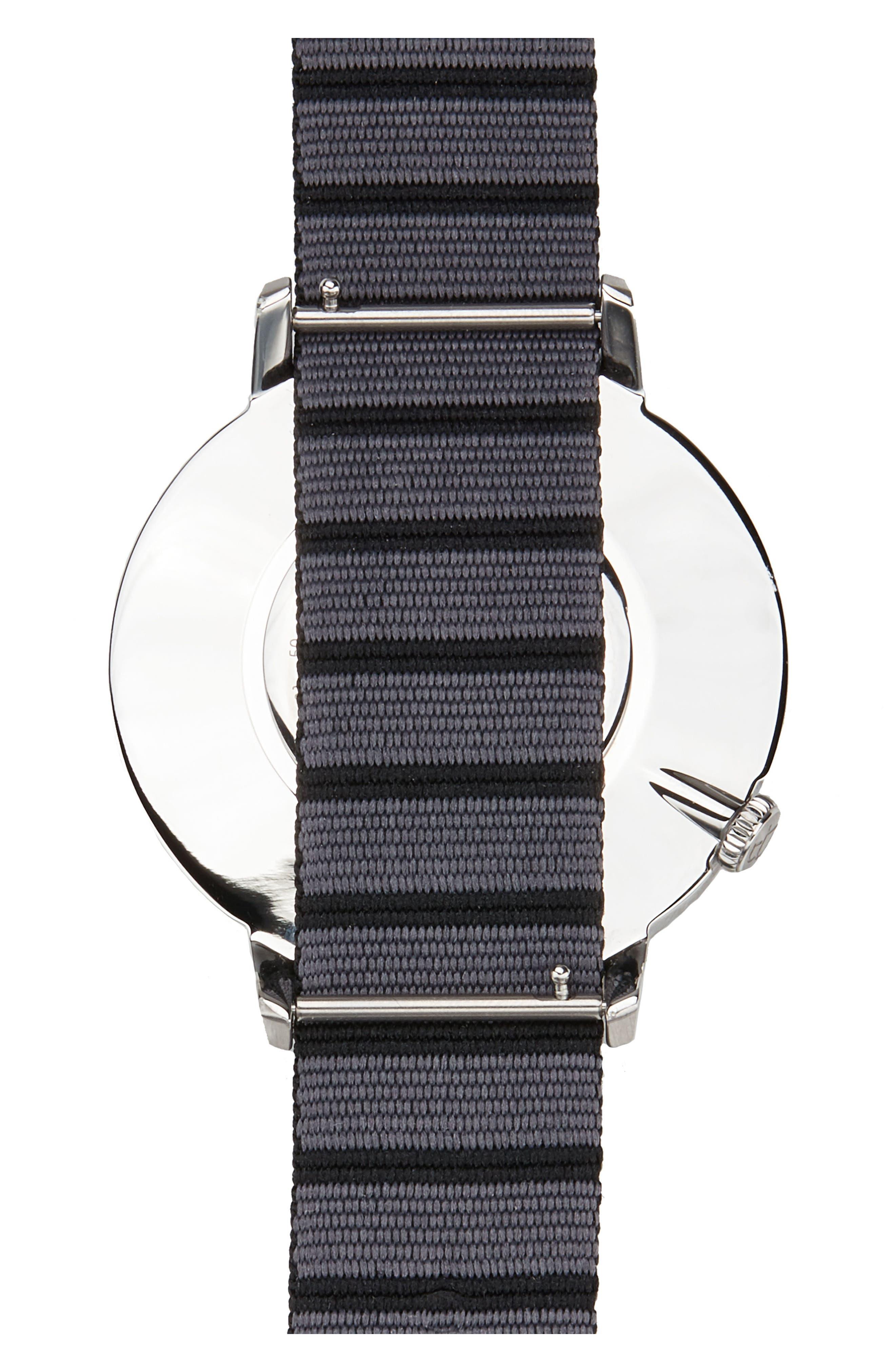 Davis Slim Nylon Strap Watch, 44mm,                             Alternate thumbnail 2, color,                             WHITE/ BLACK