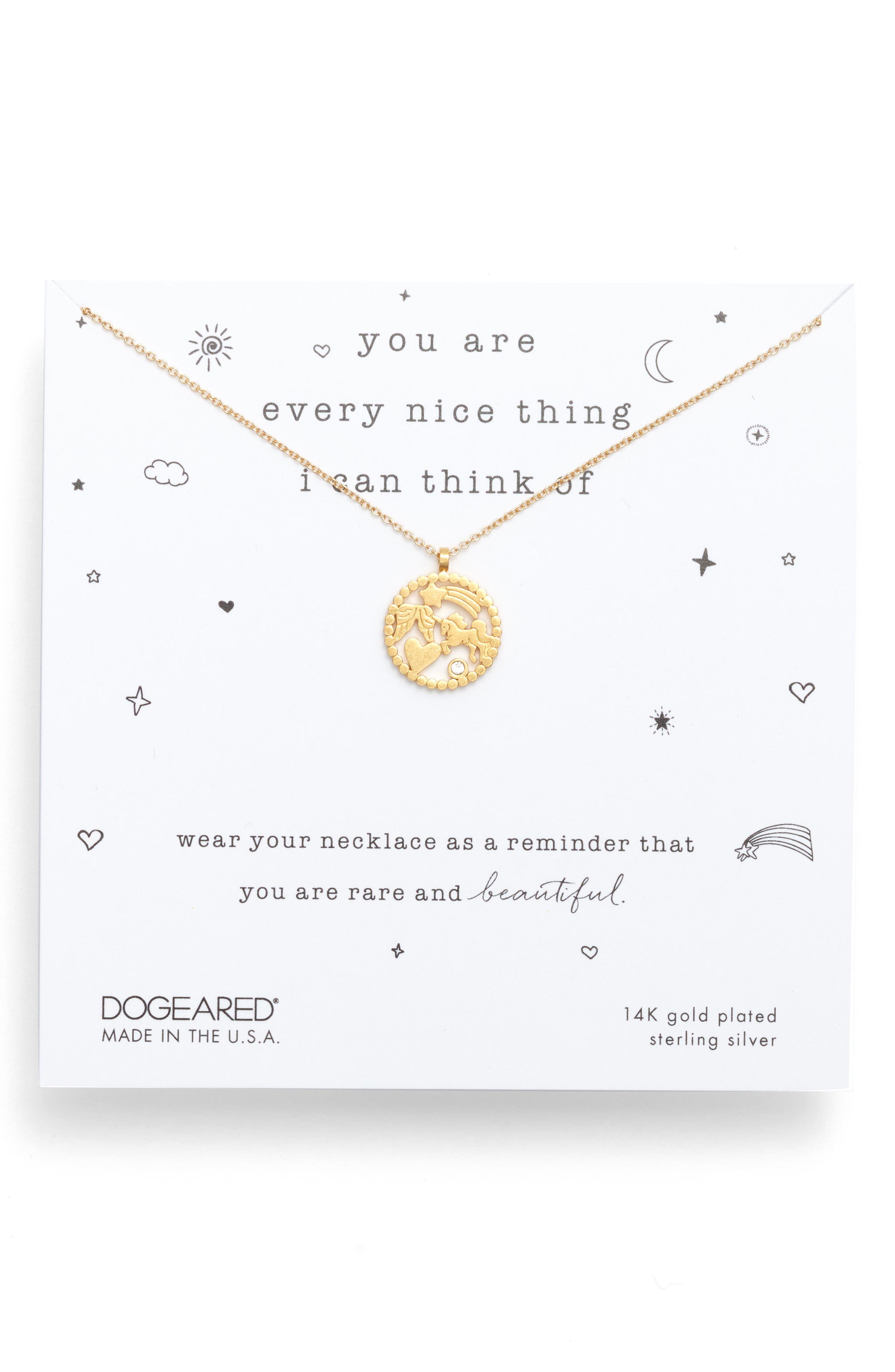 DOGEARED You Are Every Nice Thing Magic Pendant Necklace in Gold Dipped